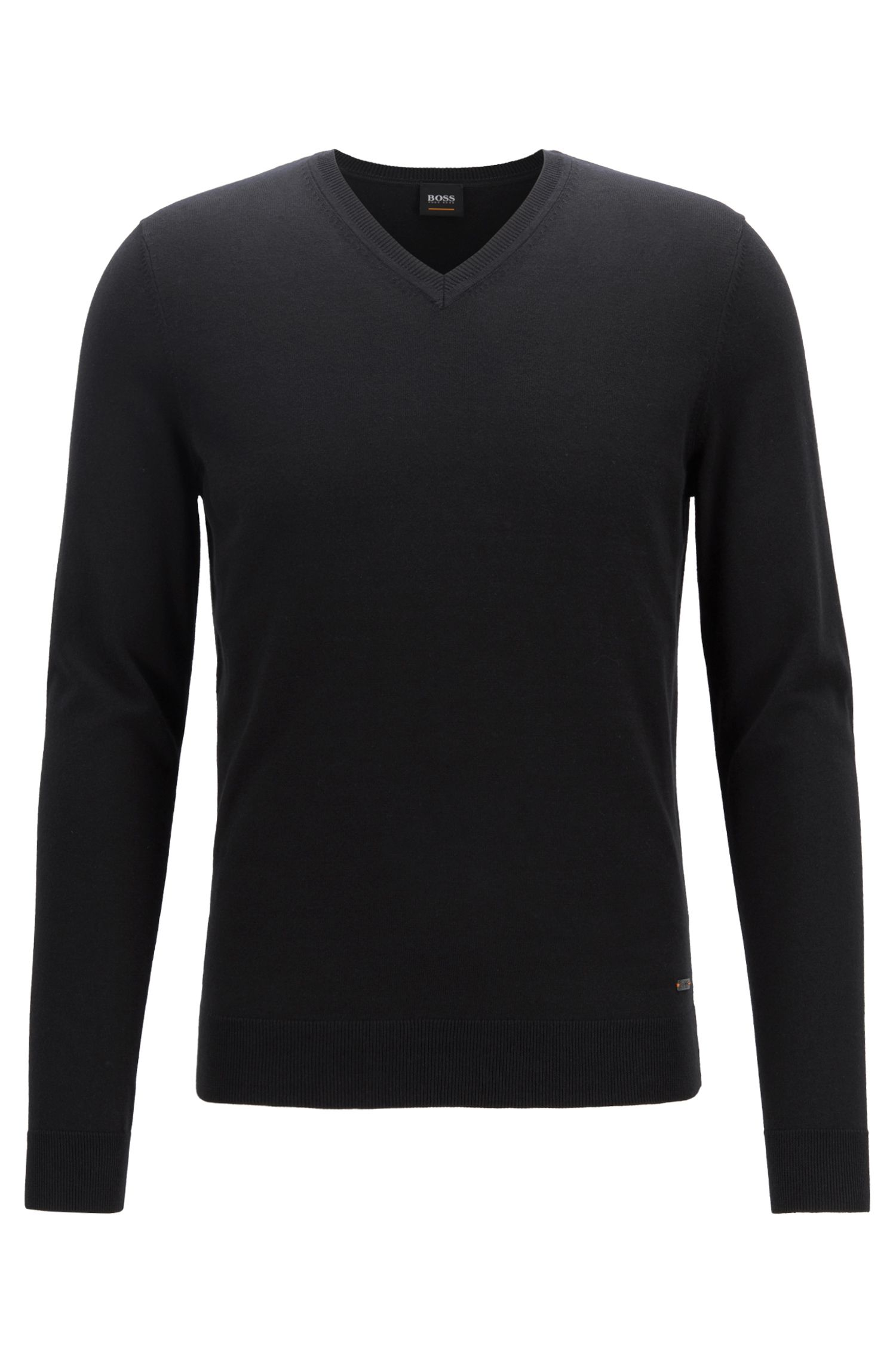 V-neck sweater in a cotton blend with cashmere, Black