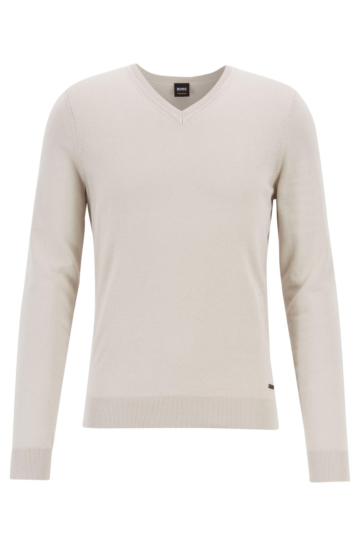 Jersey de cuello en pico en mezcla de algodón con cashmere, Gris