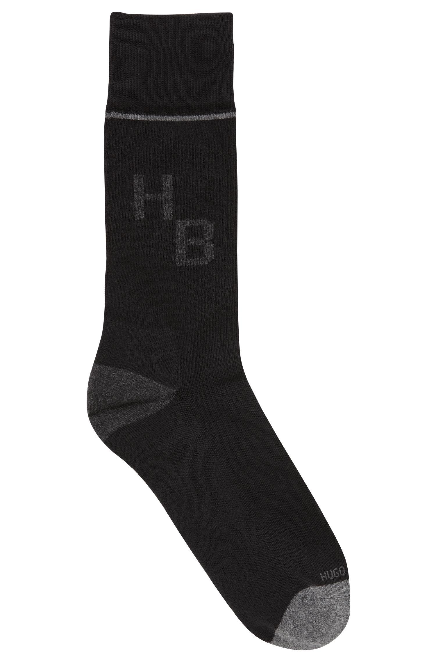 Mittelhohe Socken aus elastischem Baumwoll-Mix mit Monogramm, Schwarz