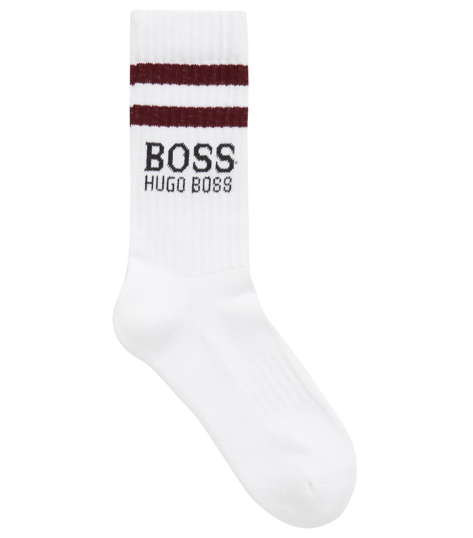 Cotton socks with contrast stripes and logo, White