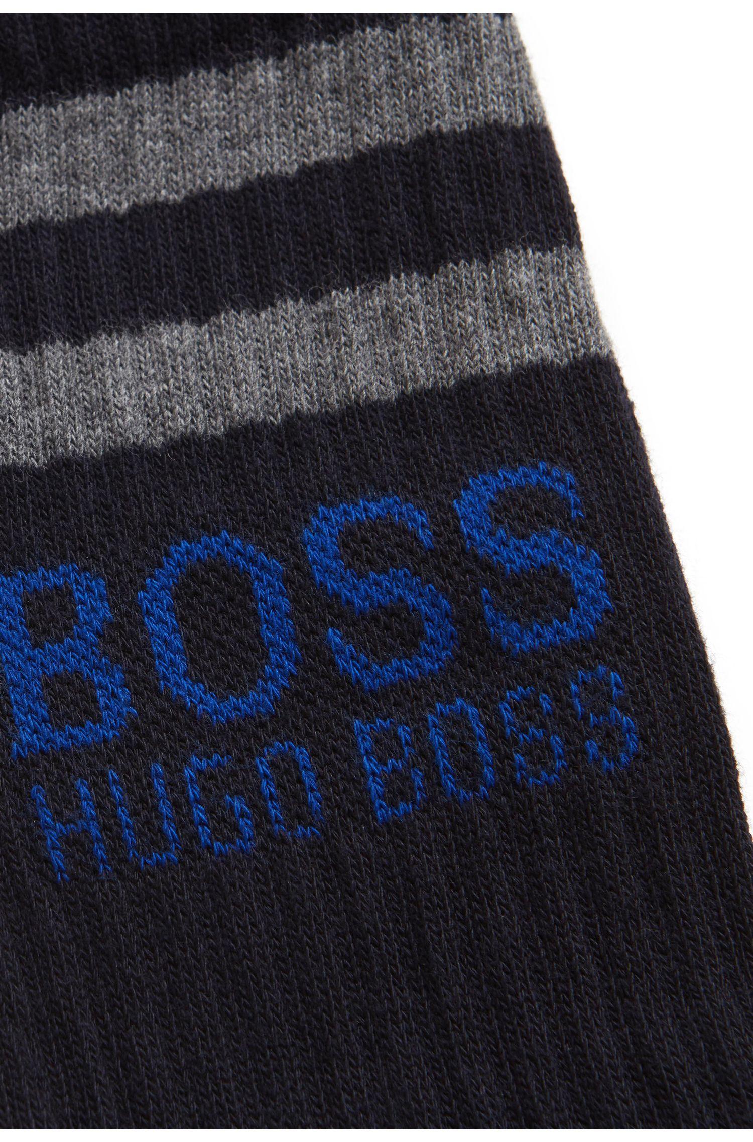 Katoenen sokken met contrasterende strepen en een logo, Donkerblauw