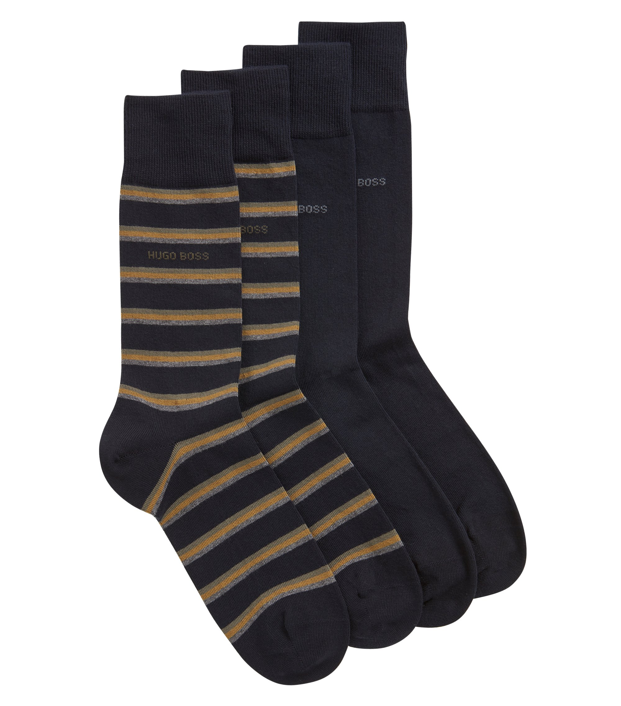 Two-pack regular-length socks with a combed finish, Dark Blue