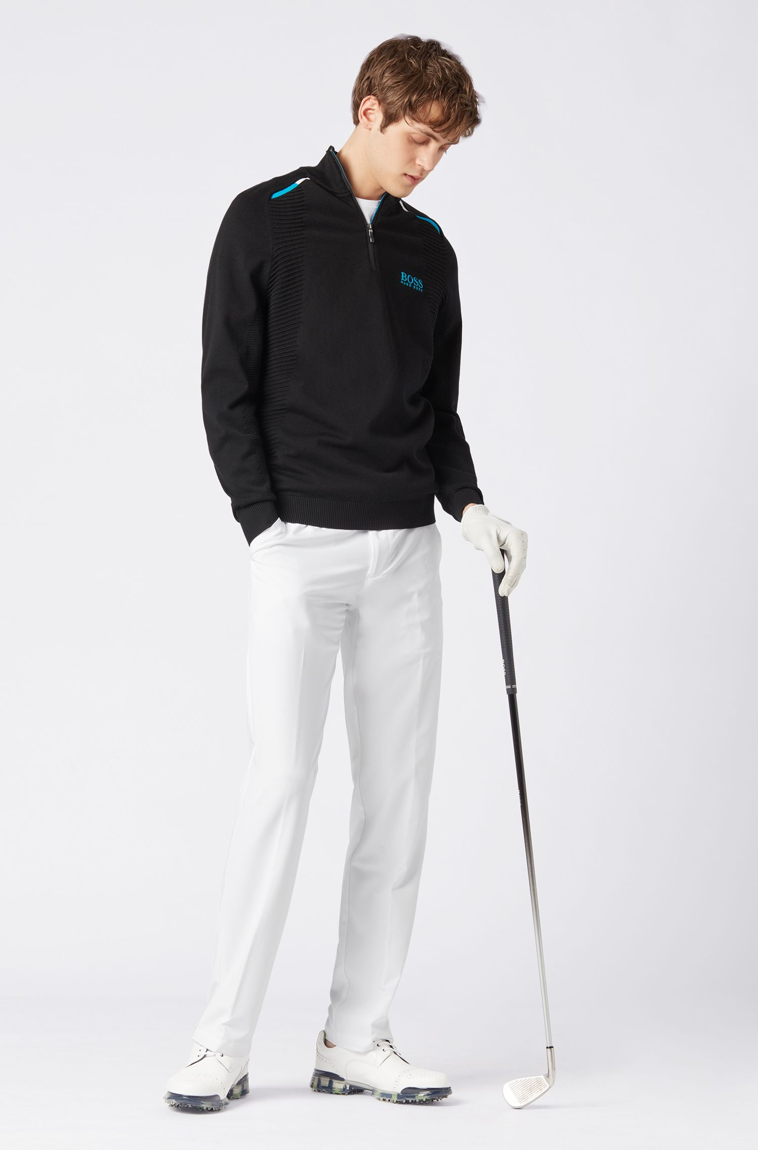 Pull de golf color block en tissu imperméable, Noir