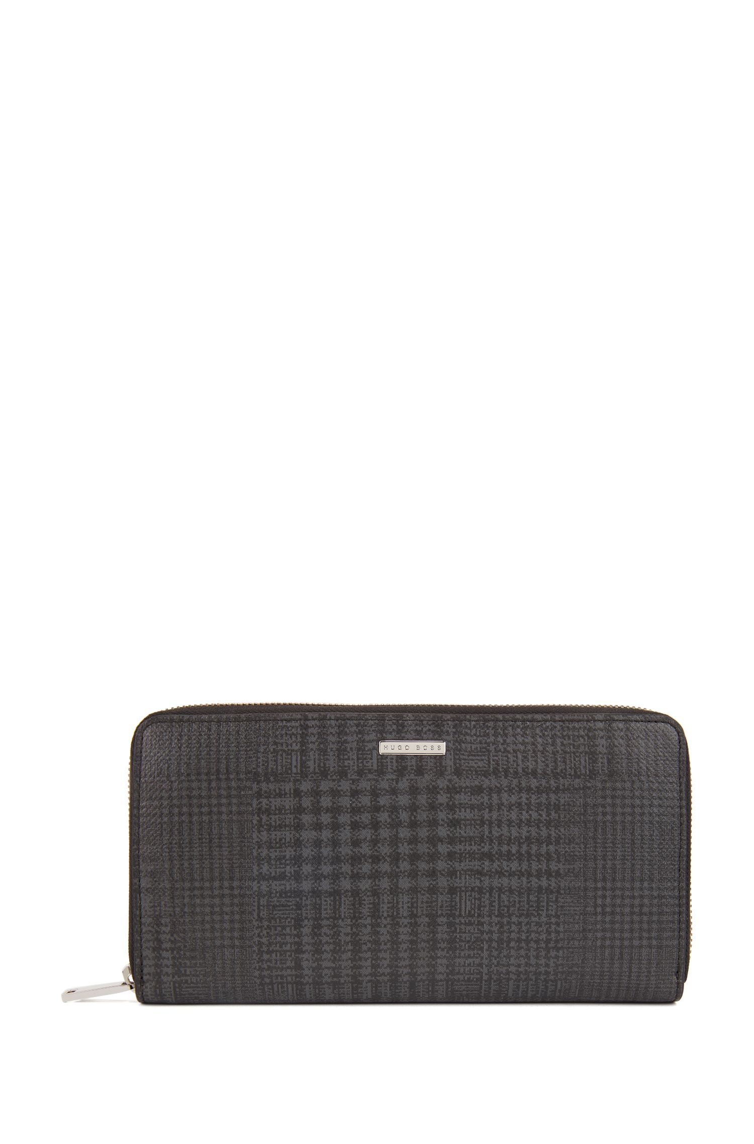 Signature Collection travel wallet in check-print calf leather, Patterned