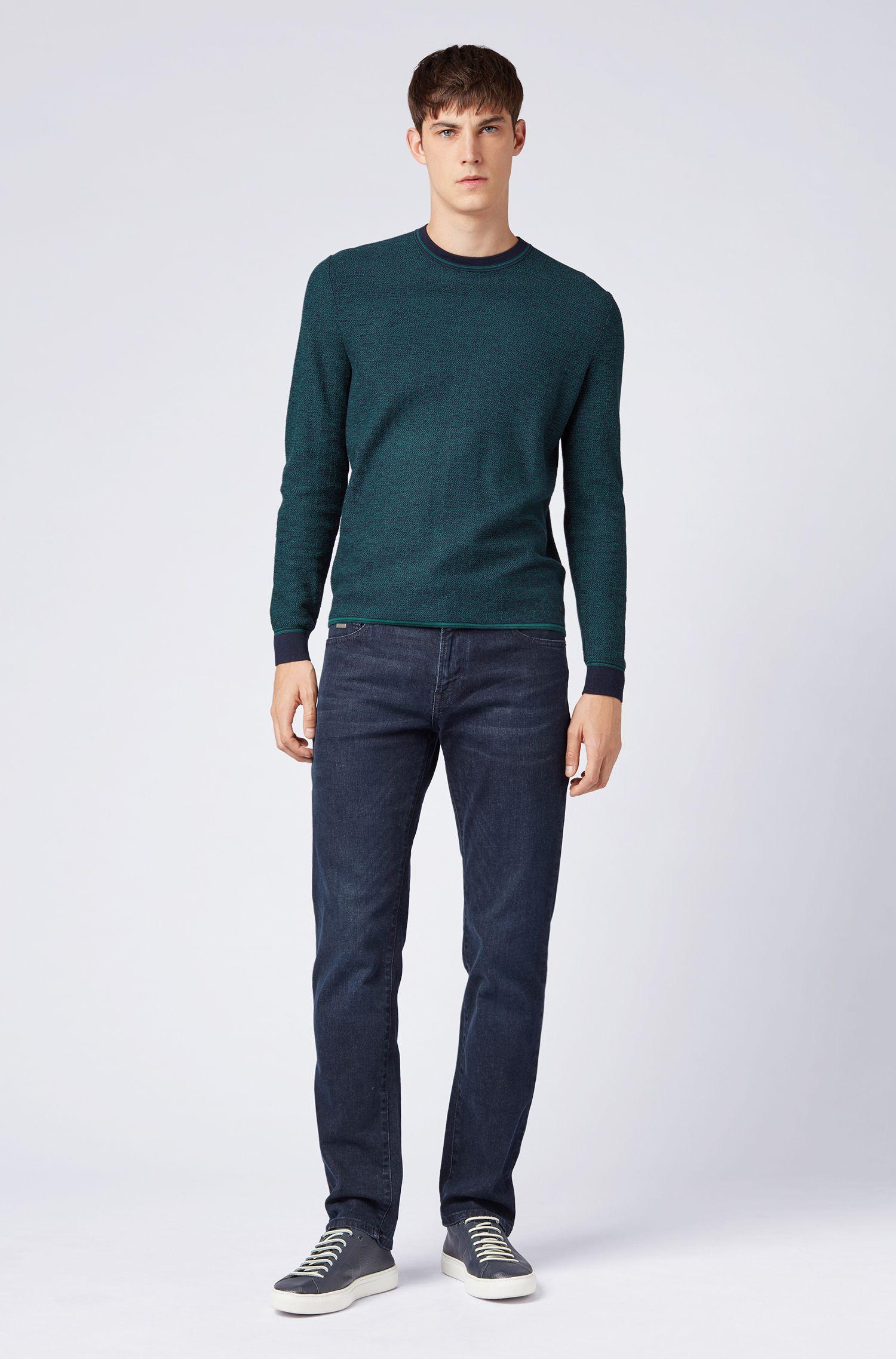 Jersey en mezcla de algodón con microestructura y cuello redondo, Azul oscuro