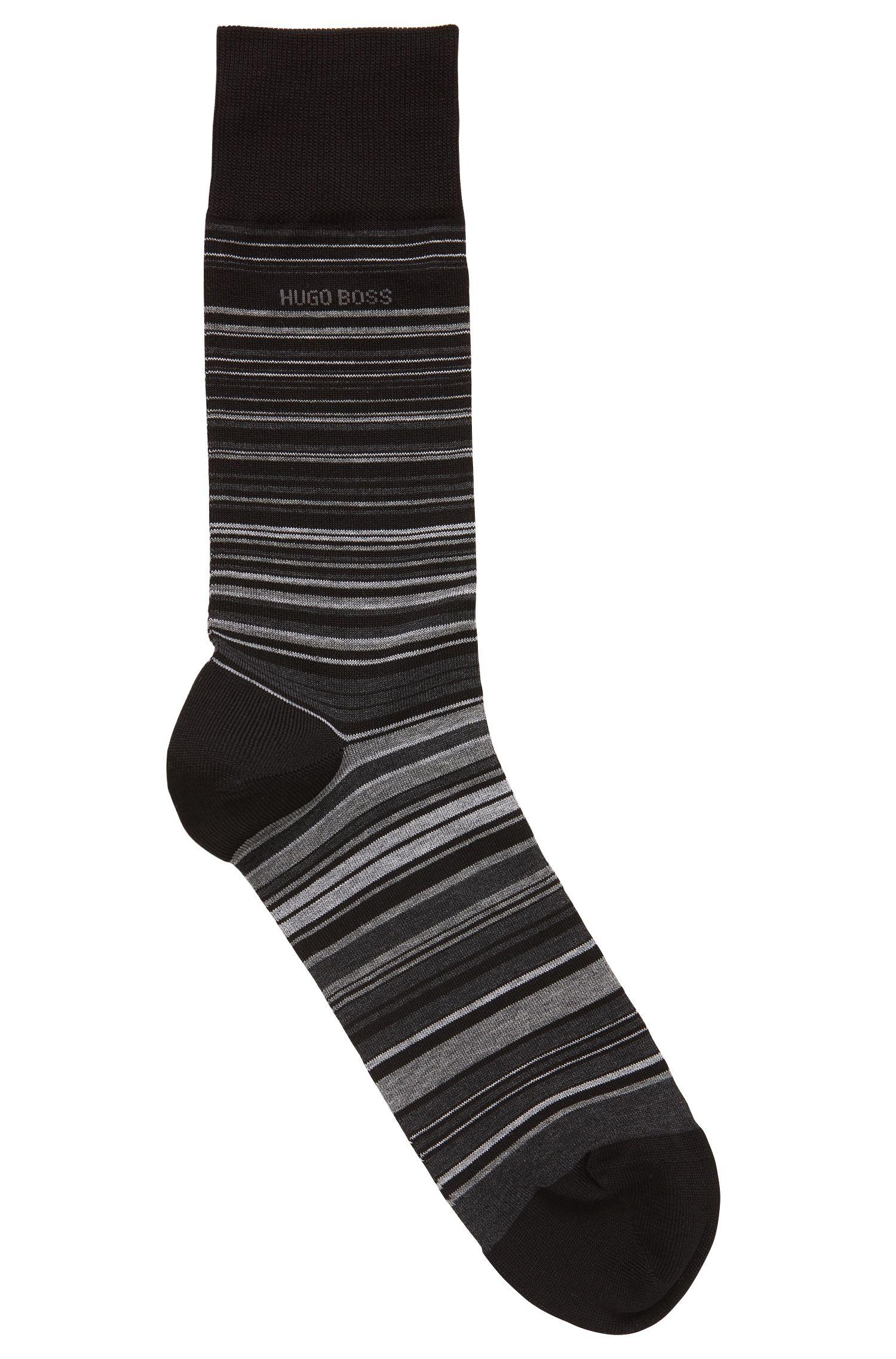 Chaussettes mi-mollet en coton mélangé mercerisé à rayures, Noir