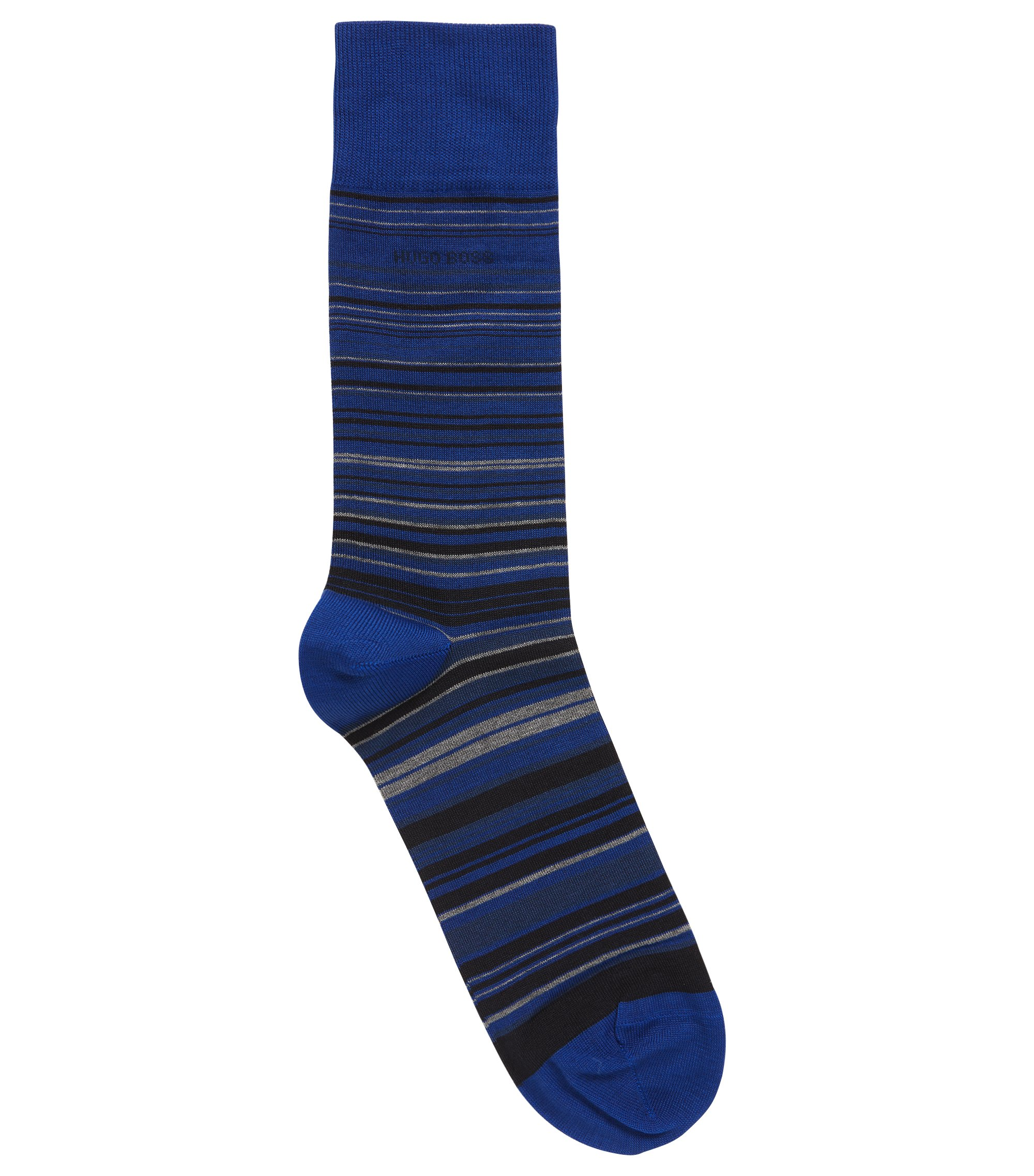 Regular-length striped socks in a mercerised cotton blend, Blue