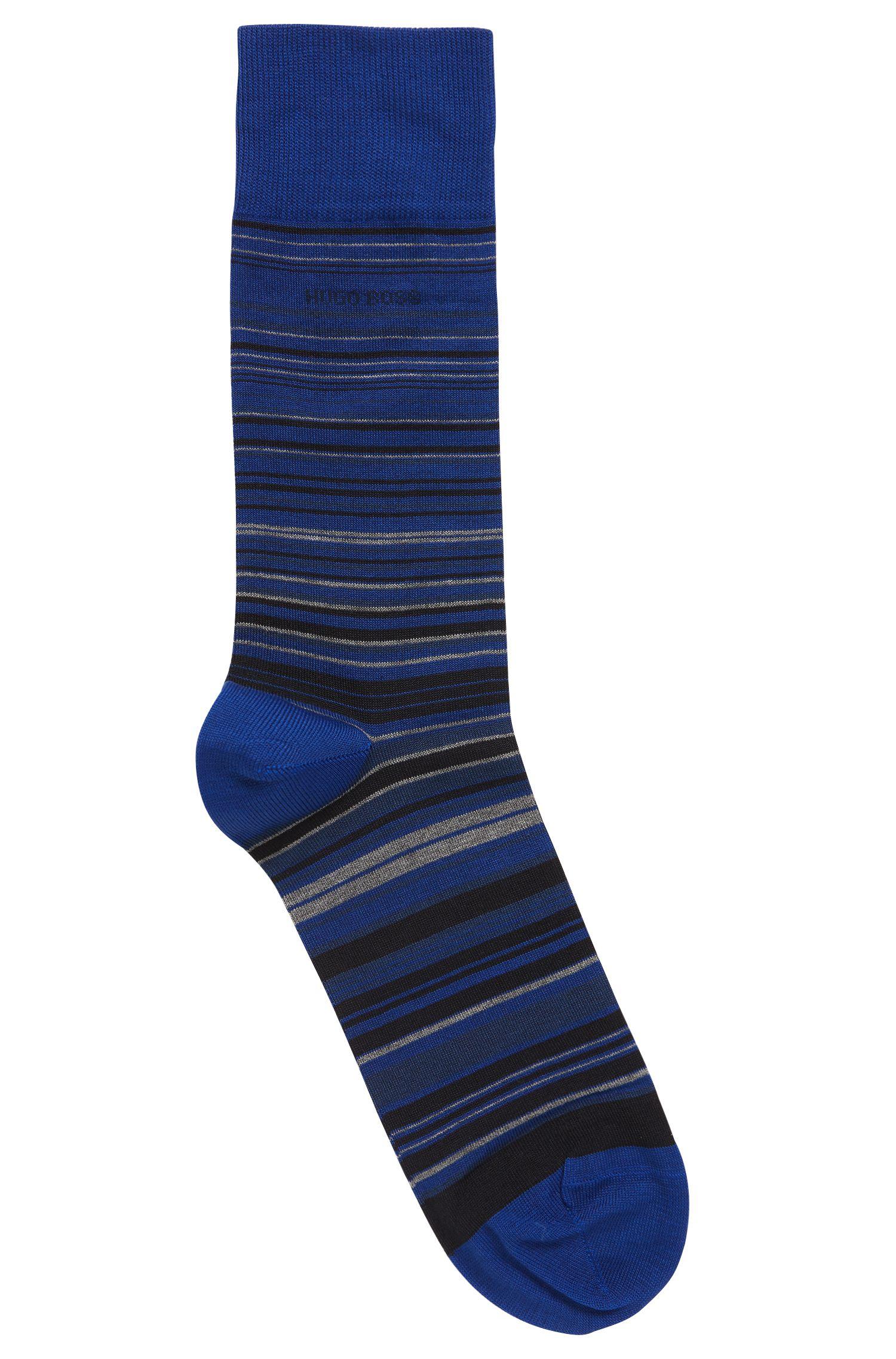 Gestreepte sokken van een gemerceriseerde katoenmix met normale lengte, Blauw