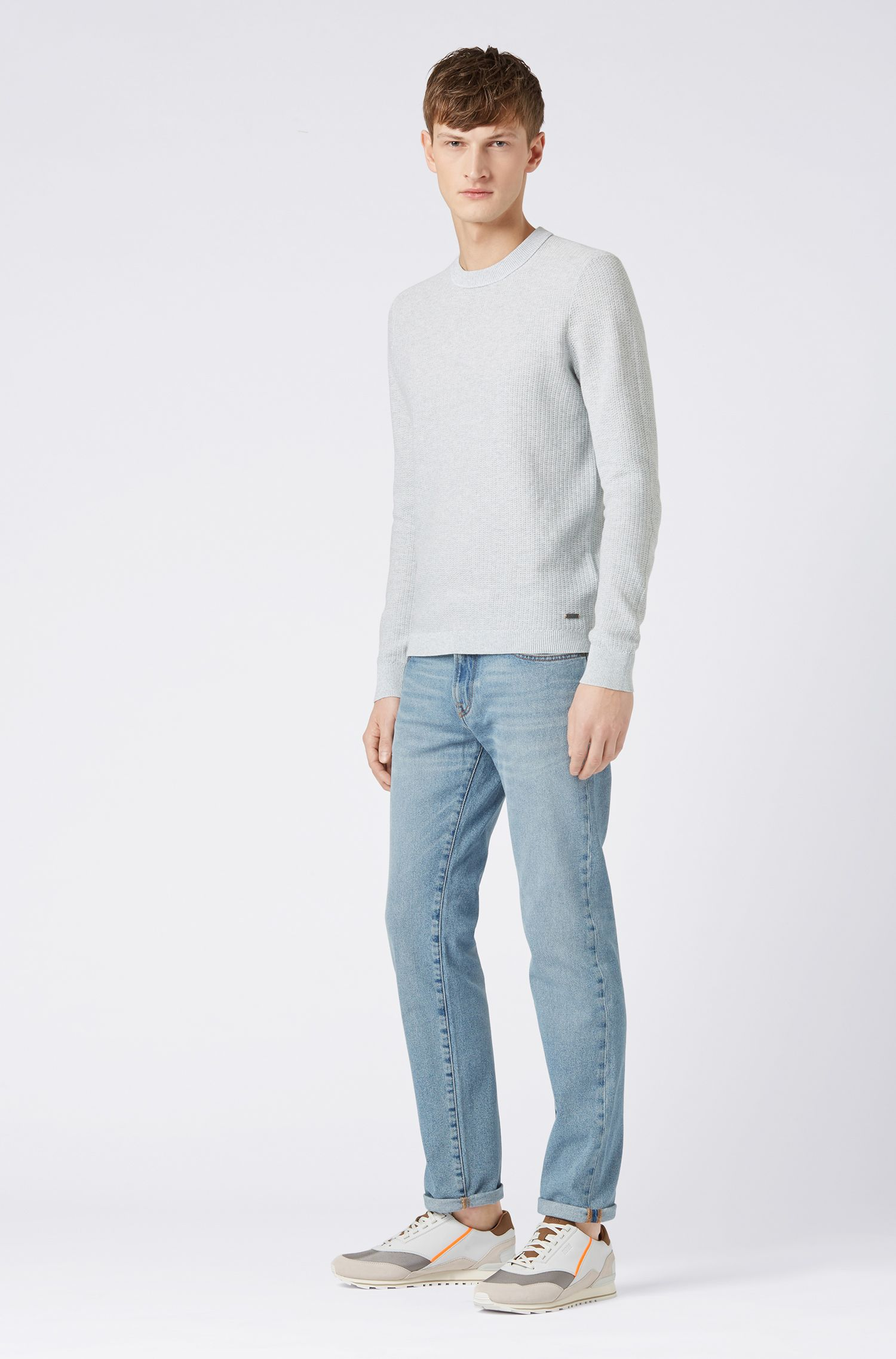 Knitted sweater in two-tone mouliné cotton with silk, White
