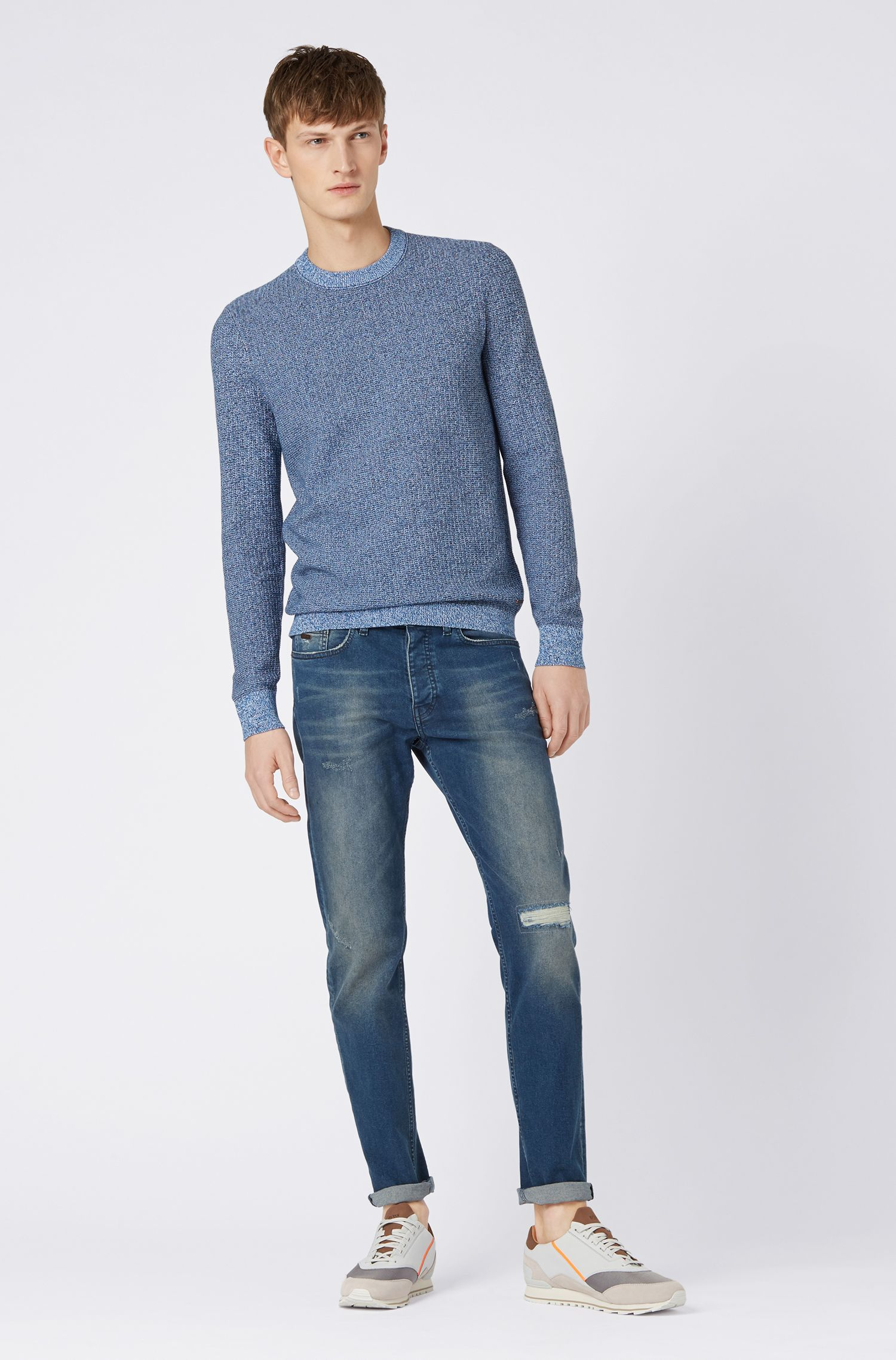 Knitted sweater in two-tone mouliné cotton with silk, Dark Blue