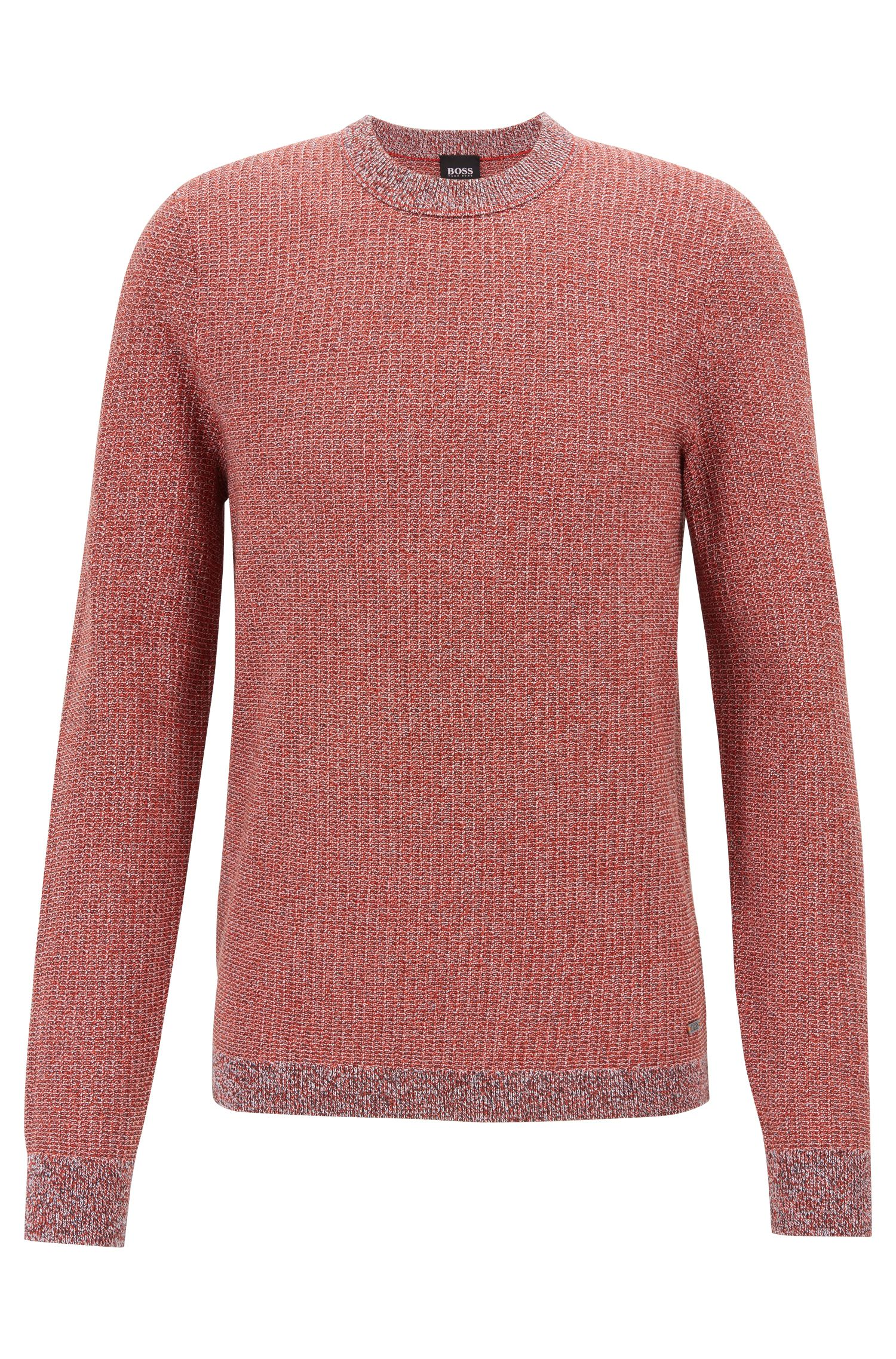 Knitted sweater in two-tone mouliné cotton with silk, Dark Orange