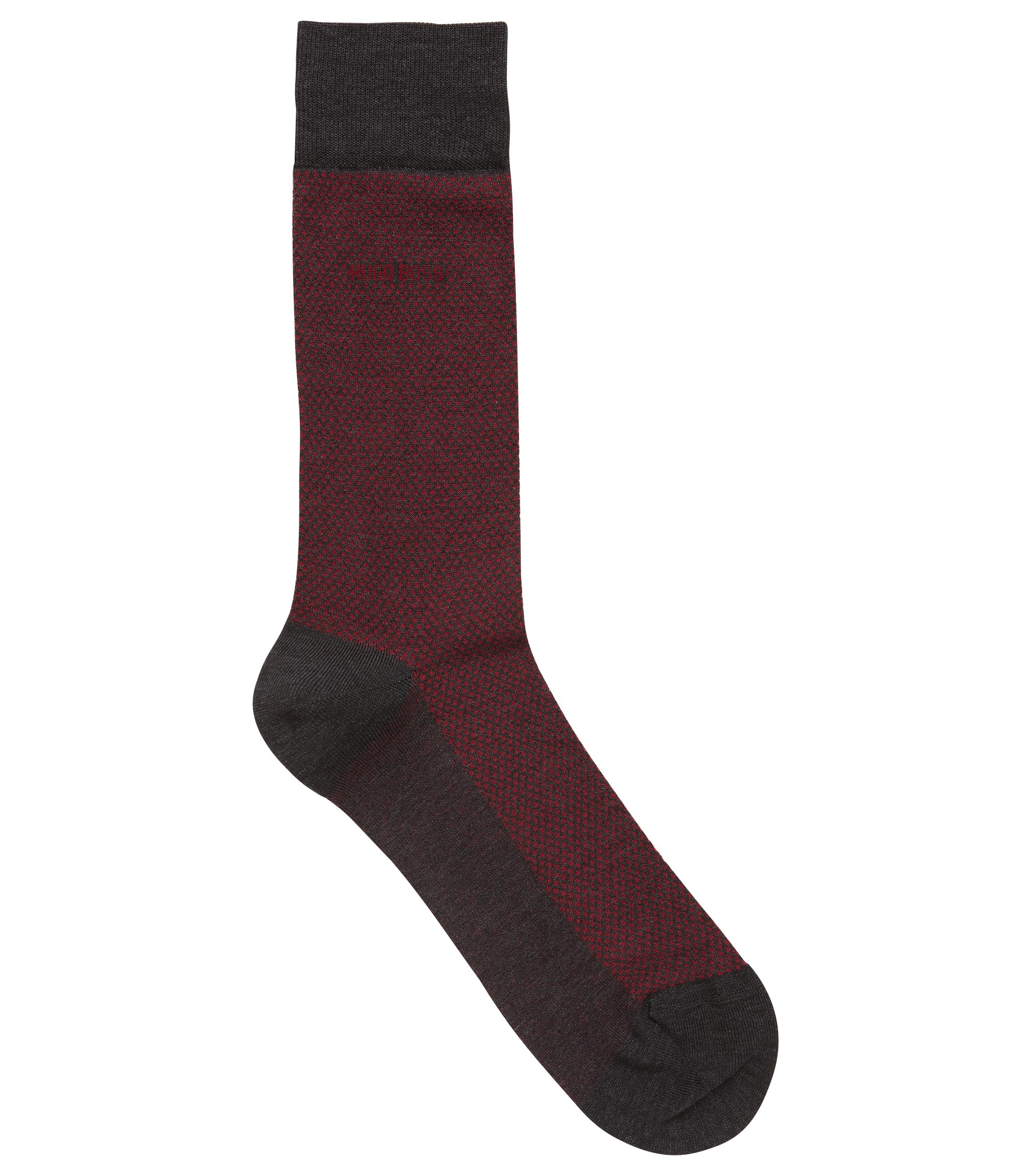 Regular-length socks in micro-patterned mercerised stretch cotton, Anthracite