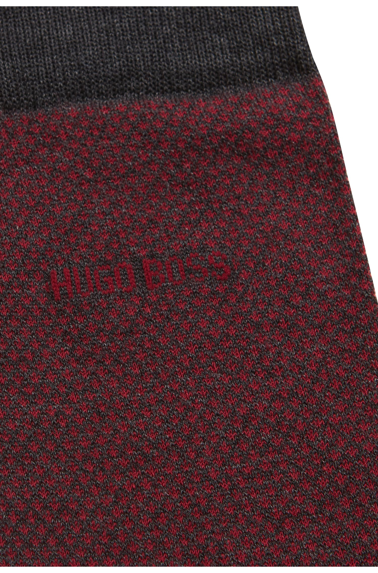 Chaussettes mi-mollet en coton stretch mercerisé à micro motif, Anthracite