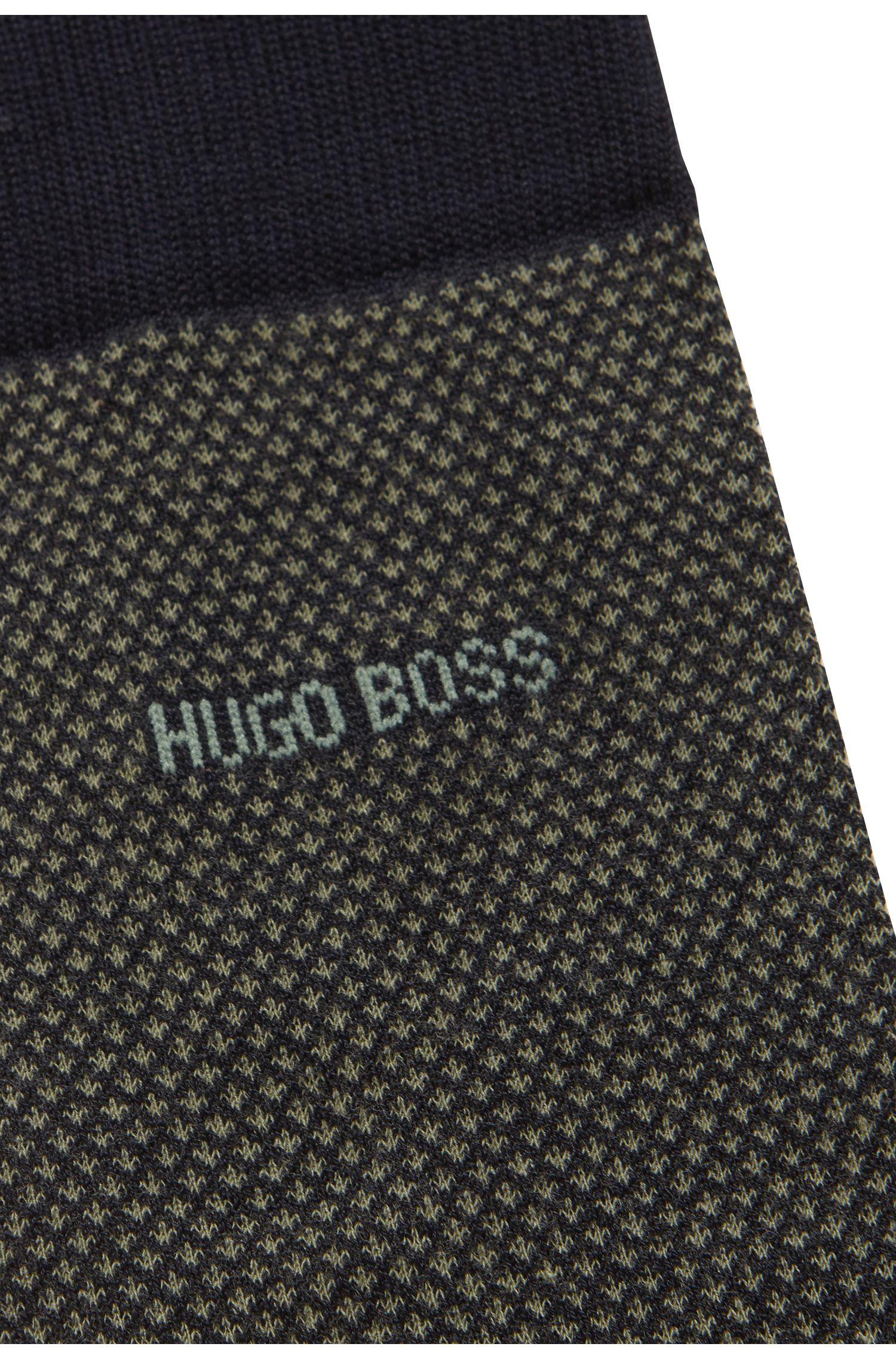 Sokken met normale lengte van gemerceriseerde stretchkatoen met microdessin, Donkerblauw