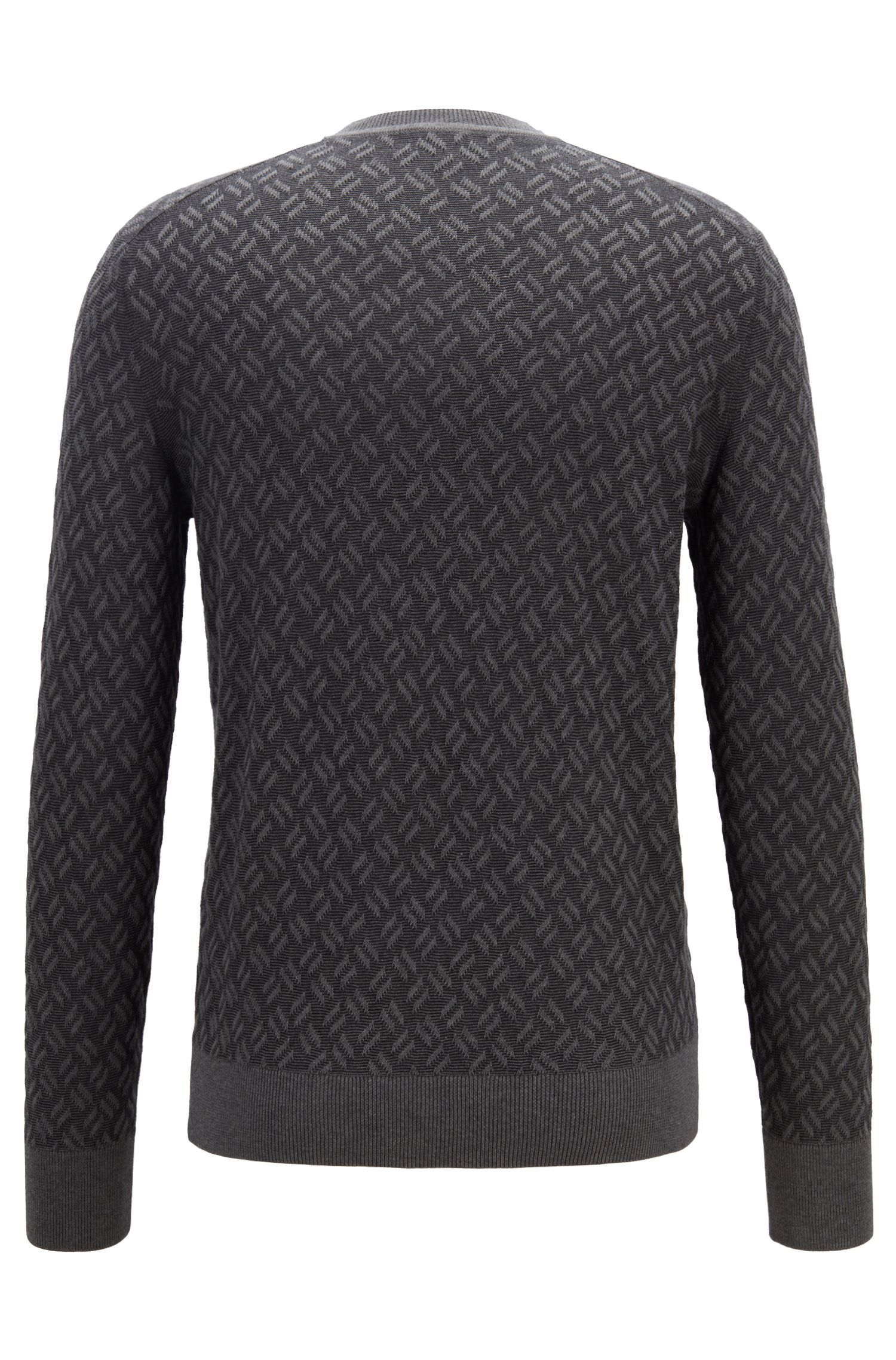 Jacquard-patterned sweater in cotton with silk, Grey