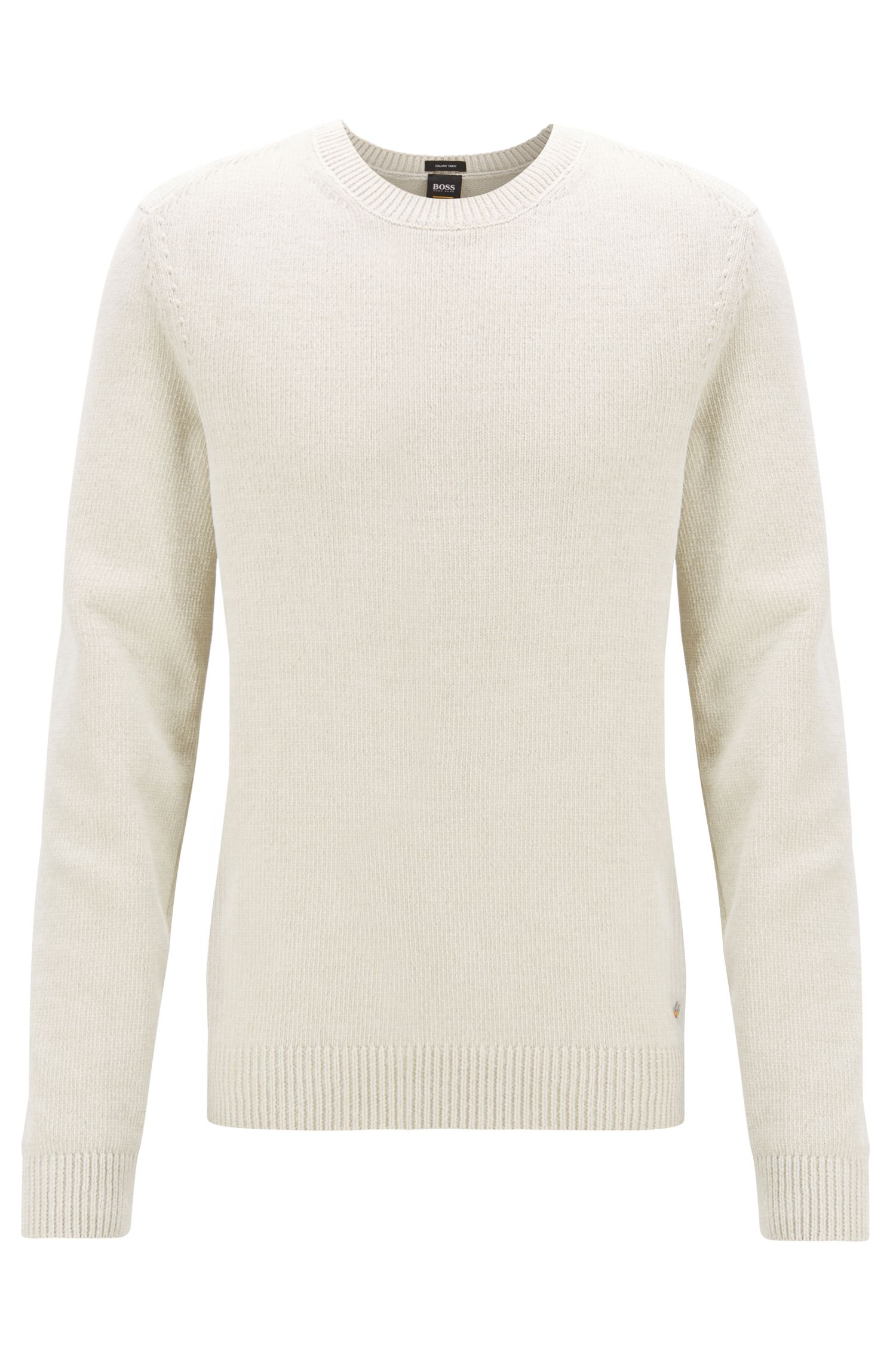 Plain-knit sweater in Italian cotton chenille, White