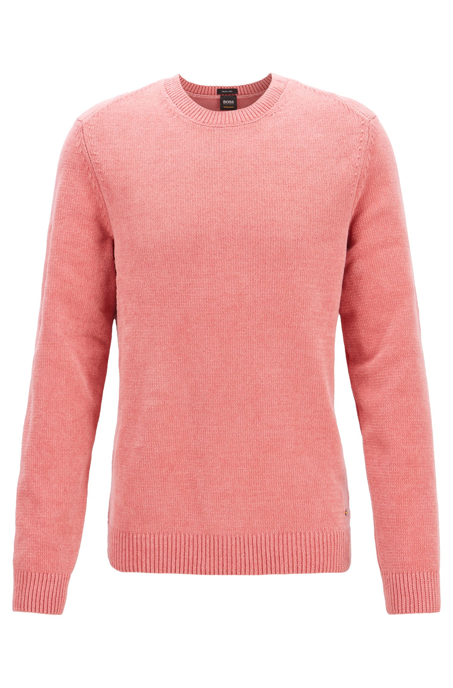 Pullover aus italienischer Baumwoll-Chenille, Hellrosa