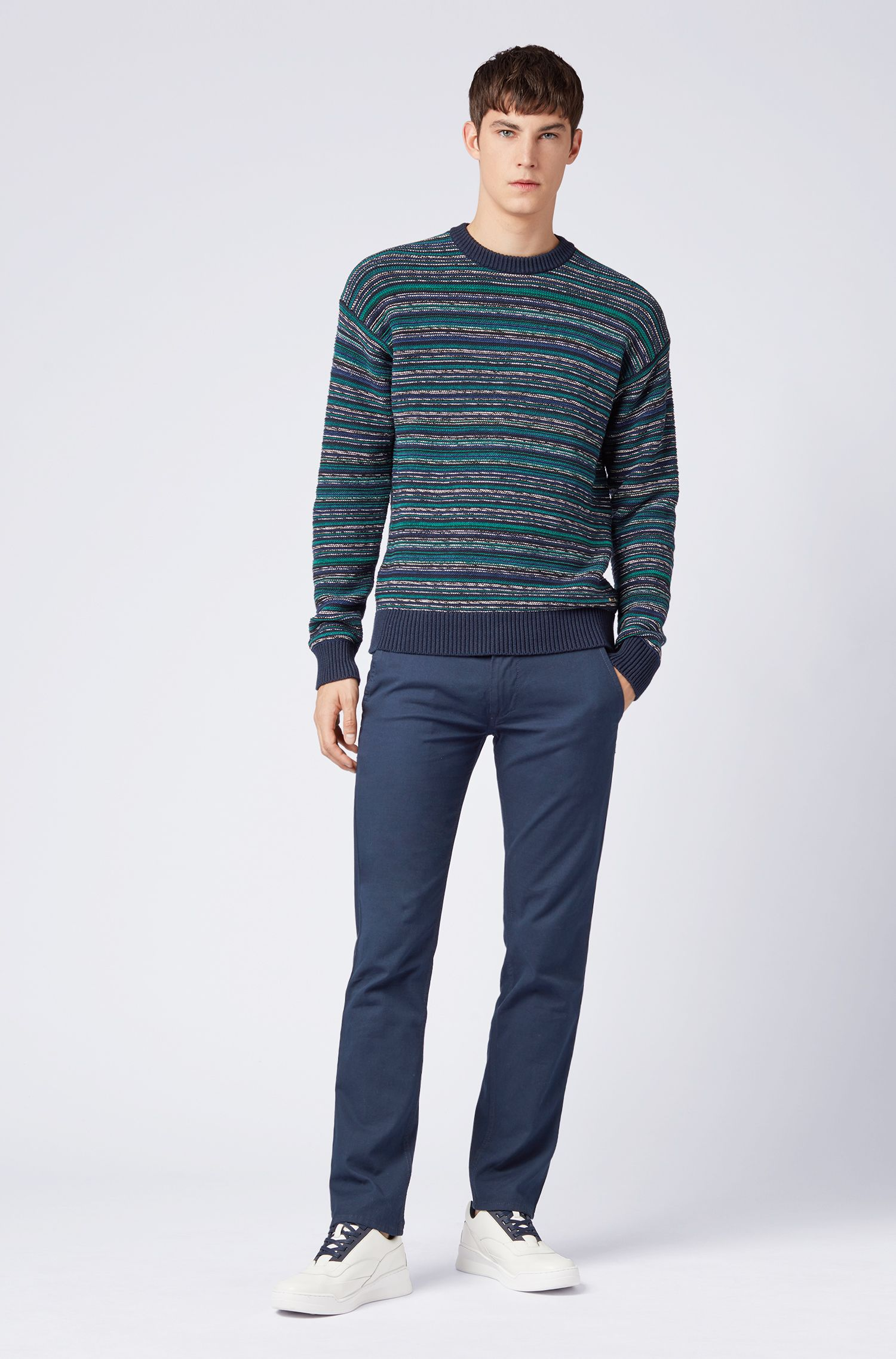 Relaxed-fit sweater in striped Italian chenille, Dark Blue