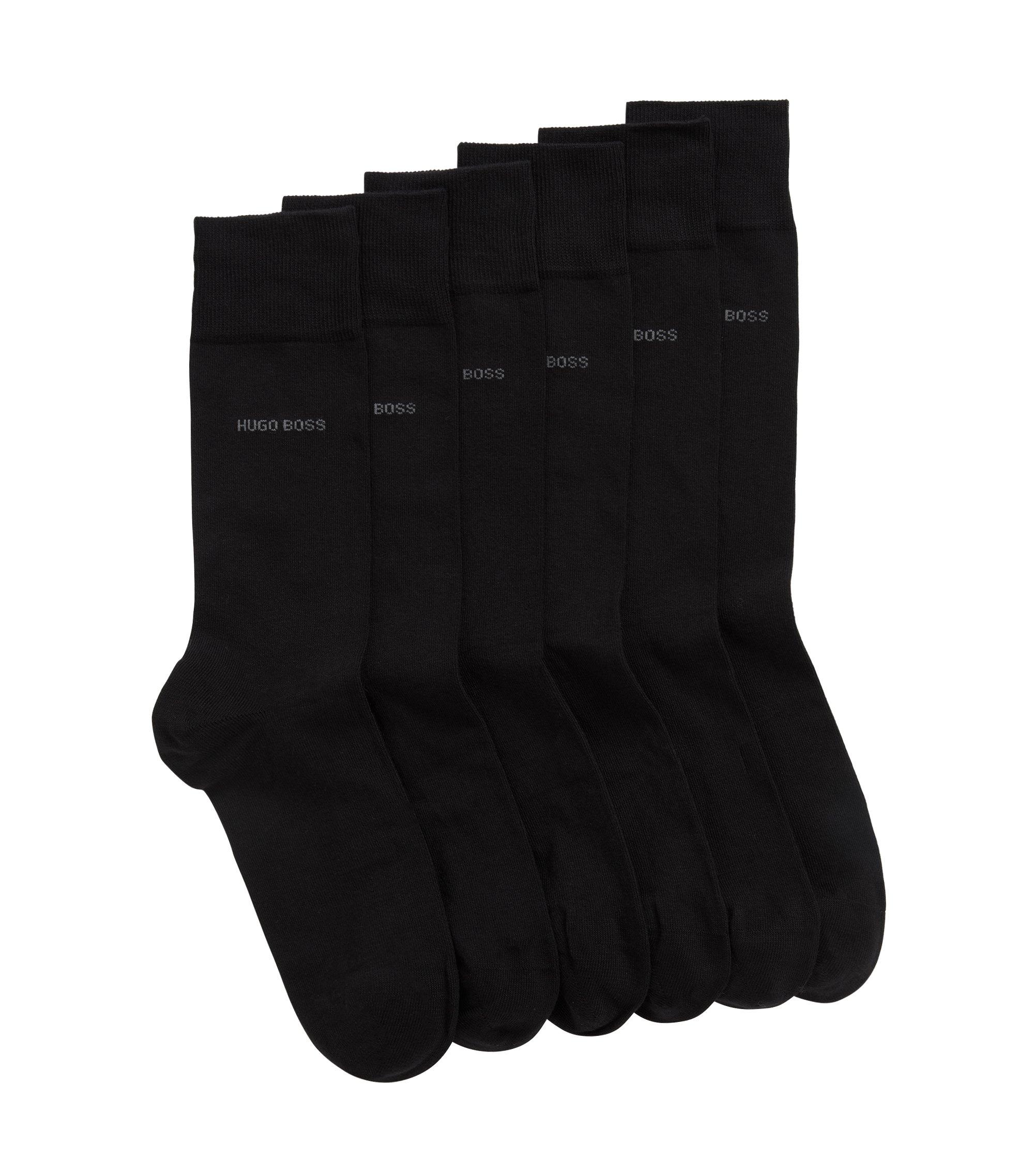 Cadeauset met drie paar effen sokken met normale lengte, Zwart