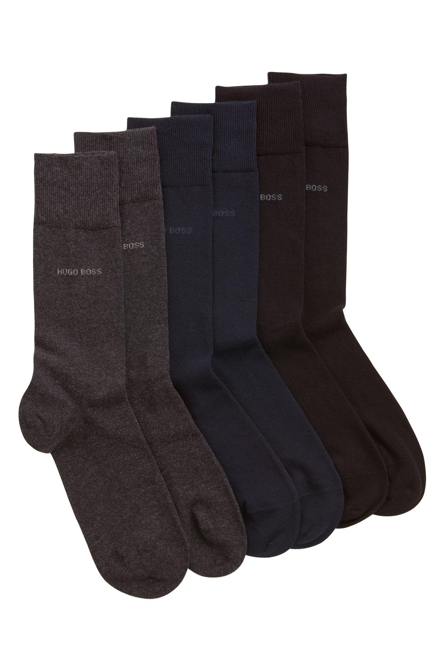 Coffret cadeau contenant trois paires de chaussettes mi-mollet unies, Fantaisie