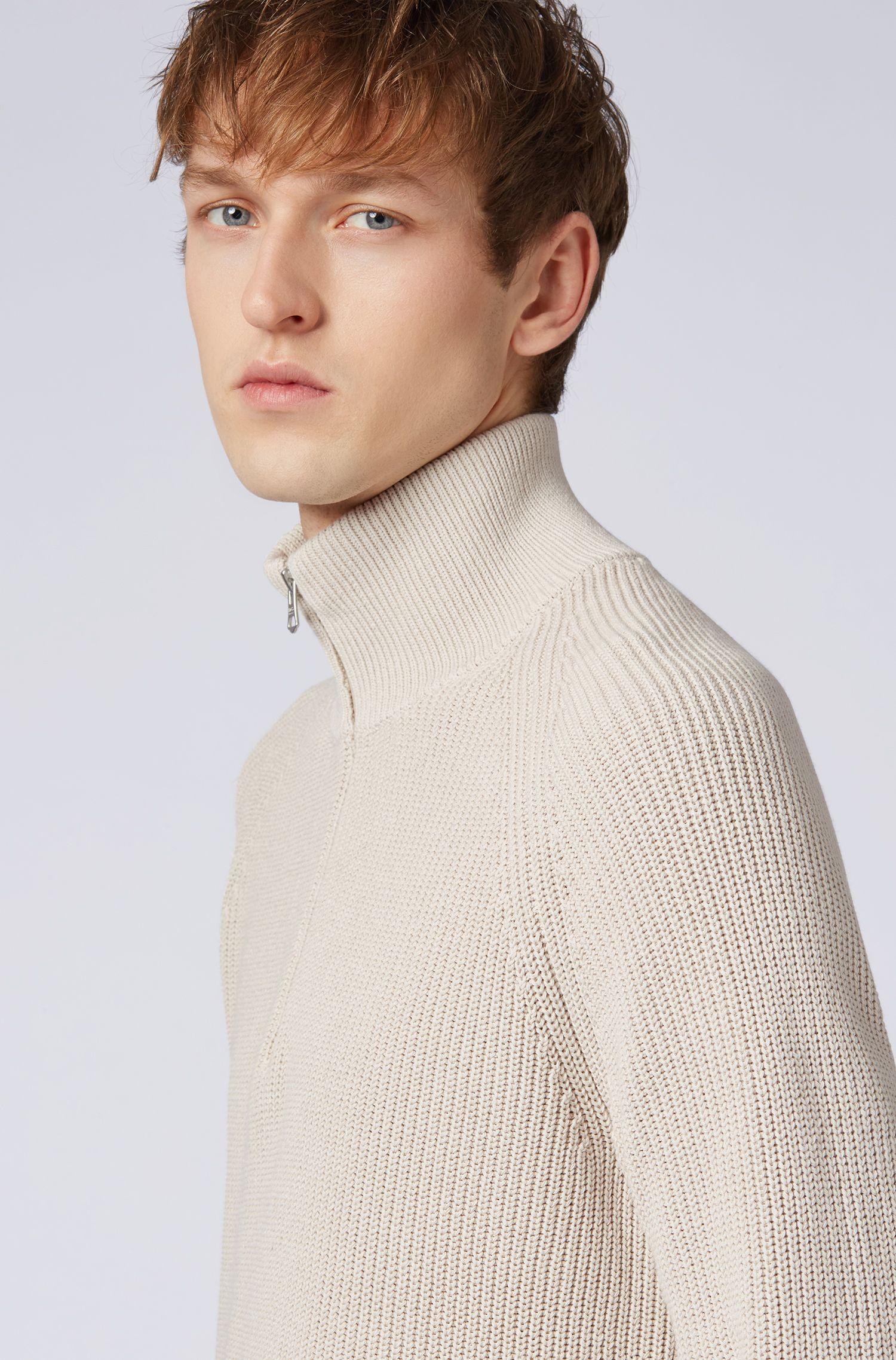 Pull à encolure zippée en jersey simple de coton à côtes perlées, Gris
