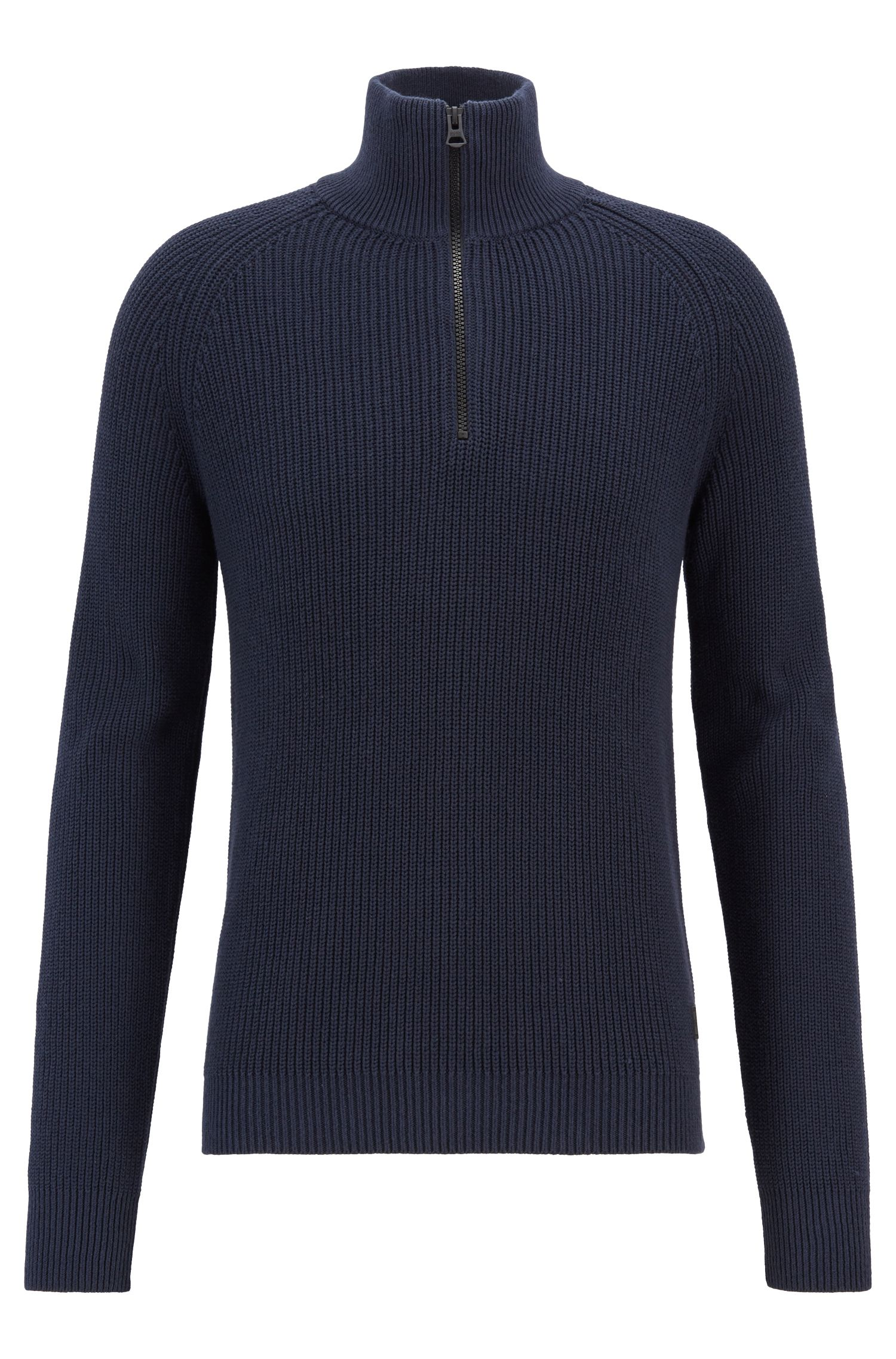 Zip-neck sweater in half-cardigan rib stitch cotton, Dark Blue