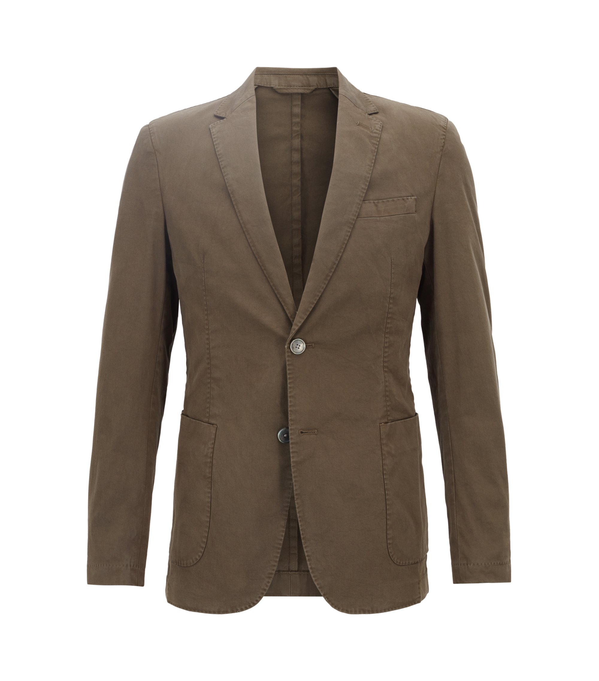 Slim-fit blazer in stretch cotton with patch pockets, Khaki