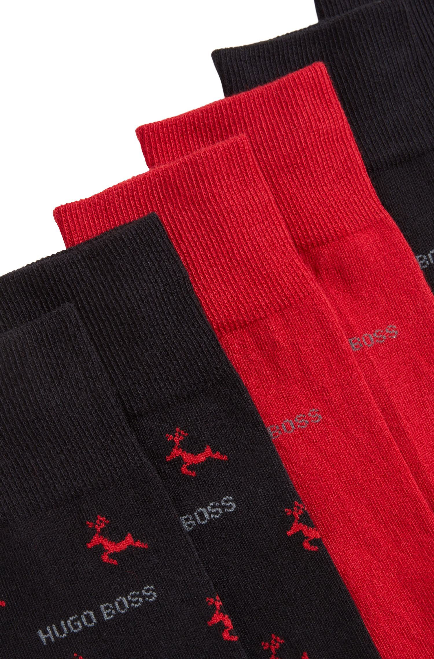 Three regular-length combed cotton-blend socks gift set, Black