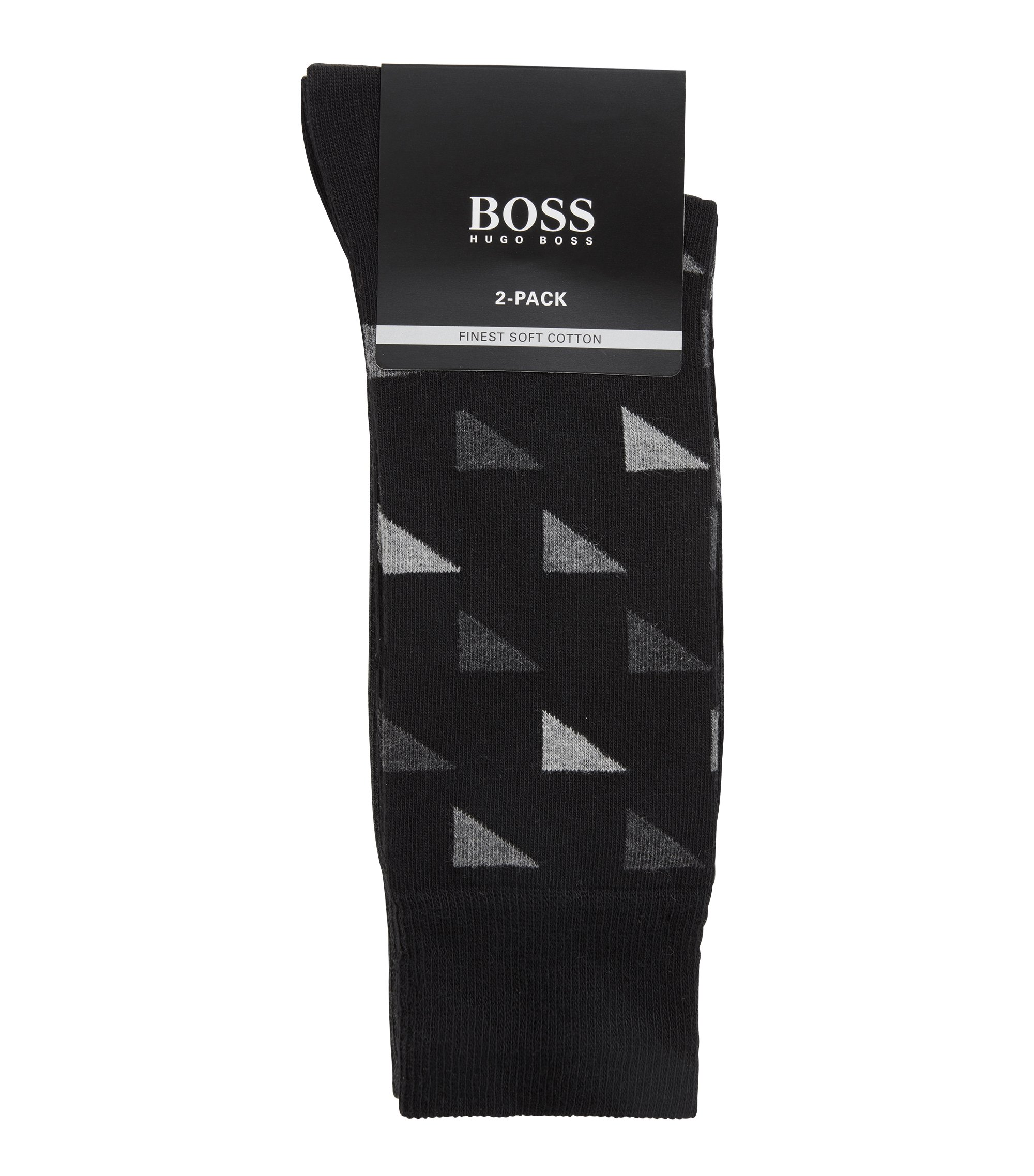 Set van twee paar sokken met normale lengte in een katoenmix, Zwart