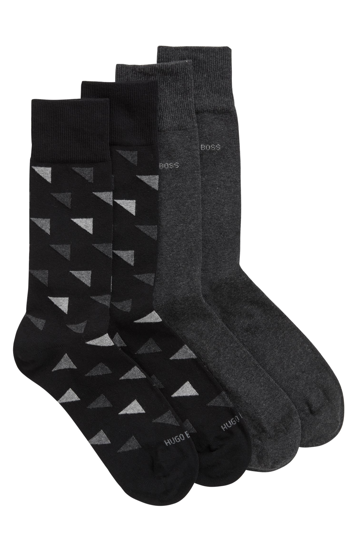 Two-pack regular-length socks in a cotton blend, Black