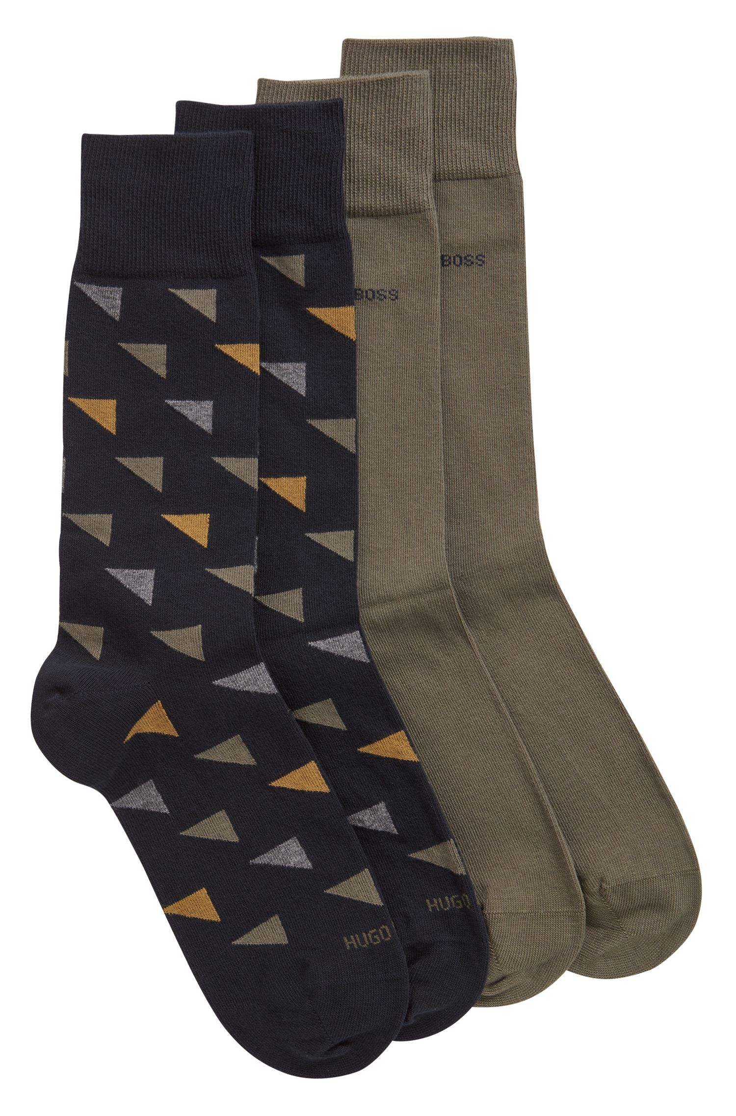 Two-pack regular-length socks in a cotton blend, Dark Blue