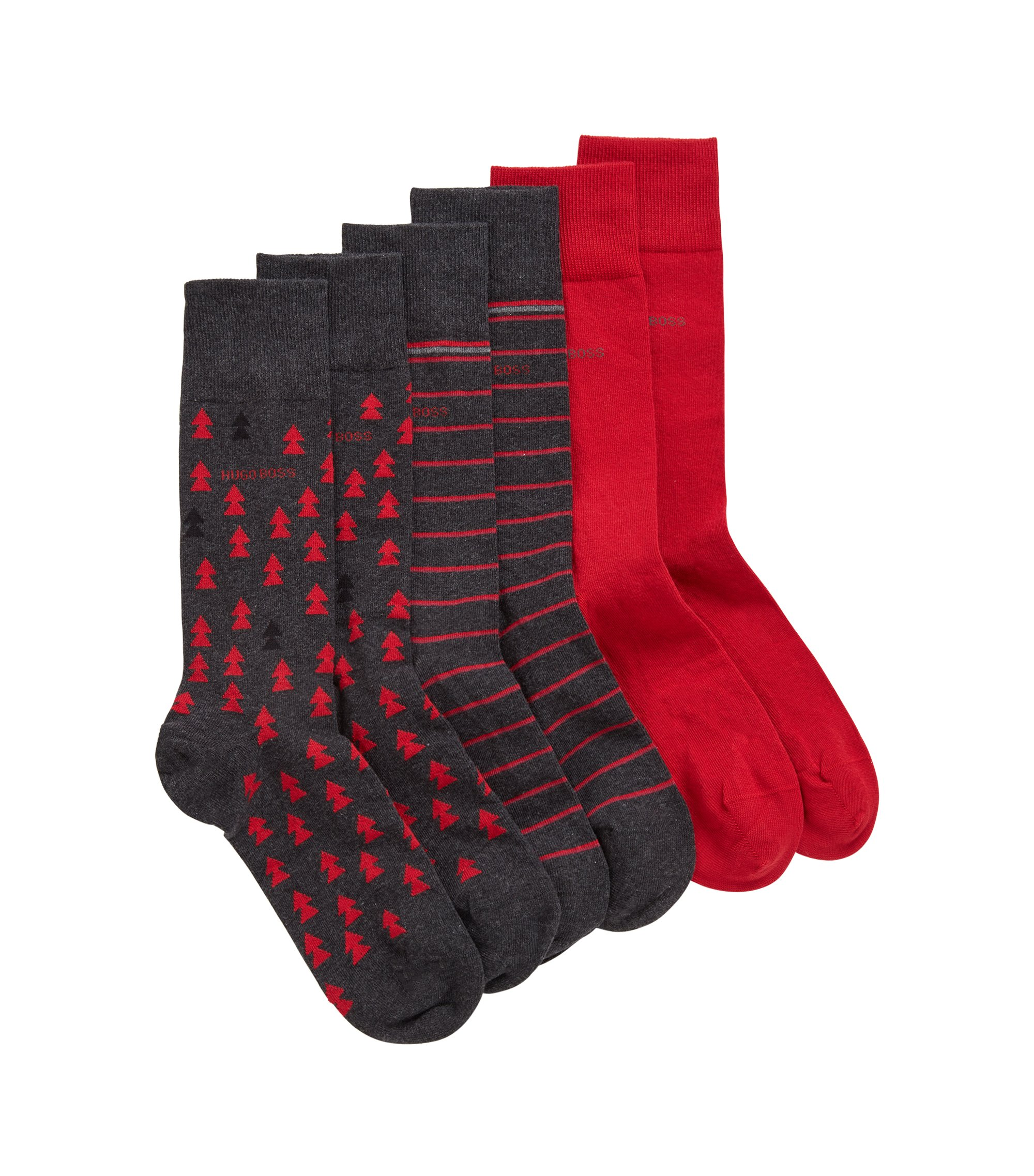 Three-pack of socks in a branded box, Anthracite