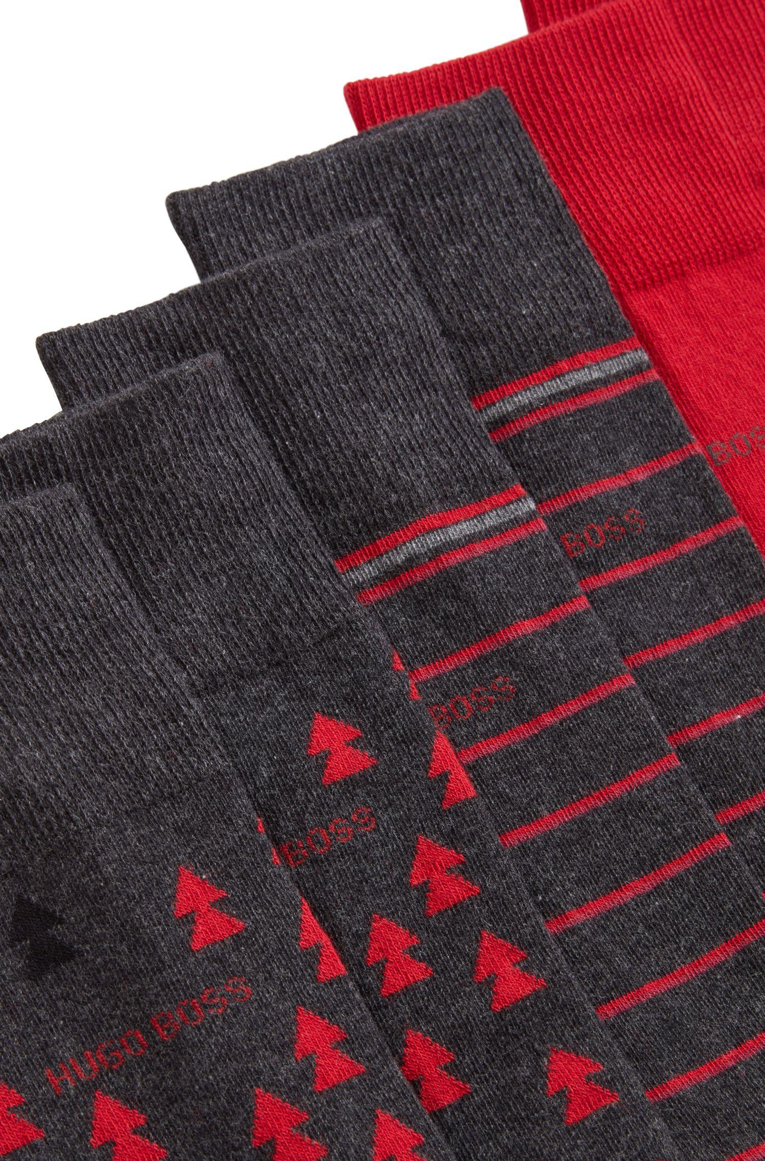 Paquete de tres pares de calcetines en caja de la marca, Gris marengo