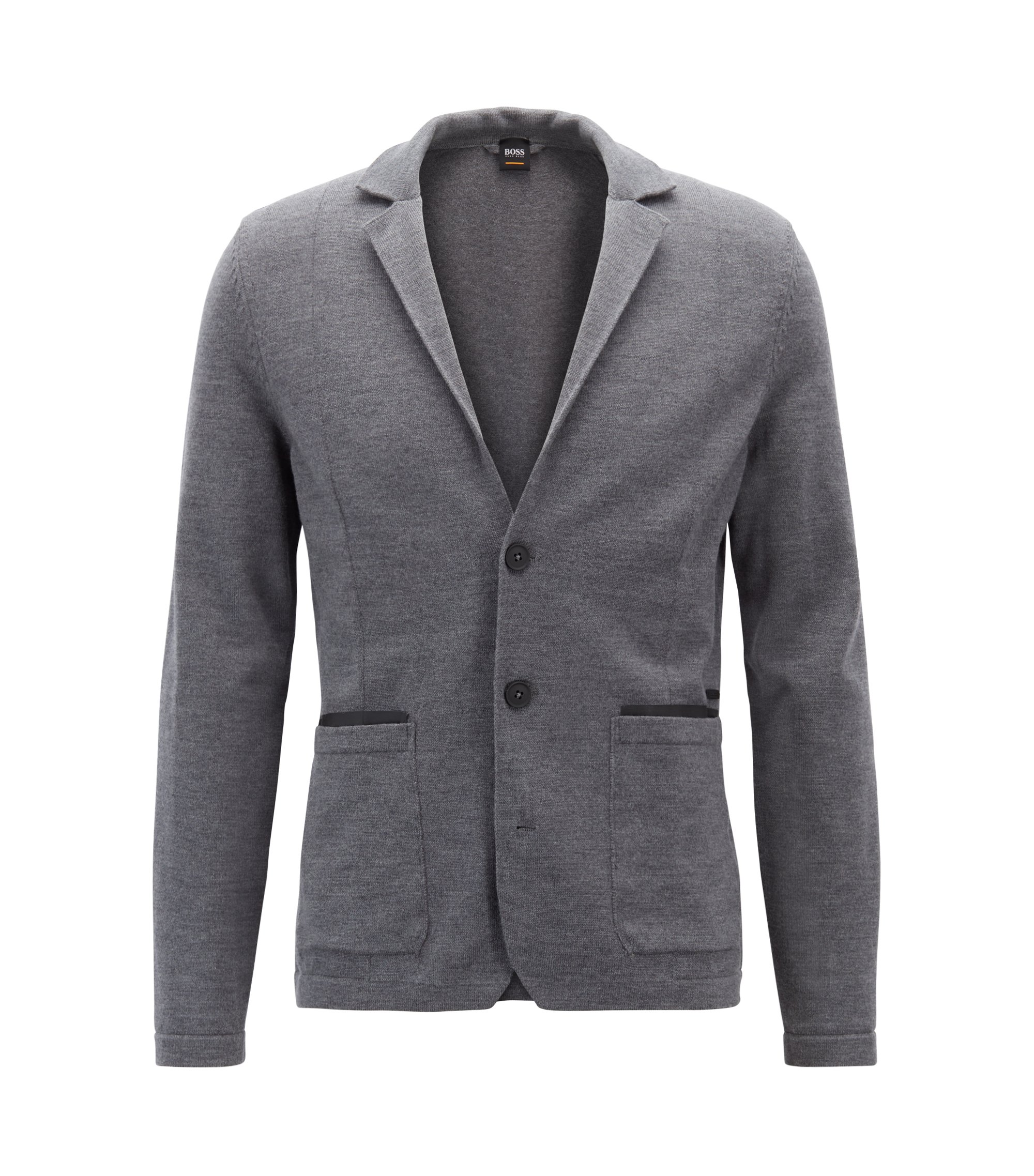 Regular-fit knitted jacket in a merino-wool blend, Grey