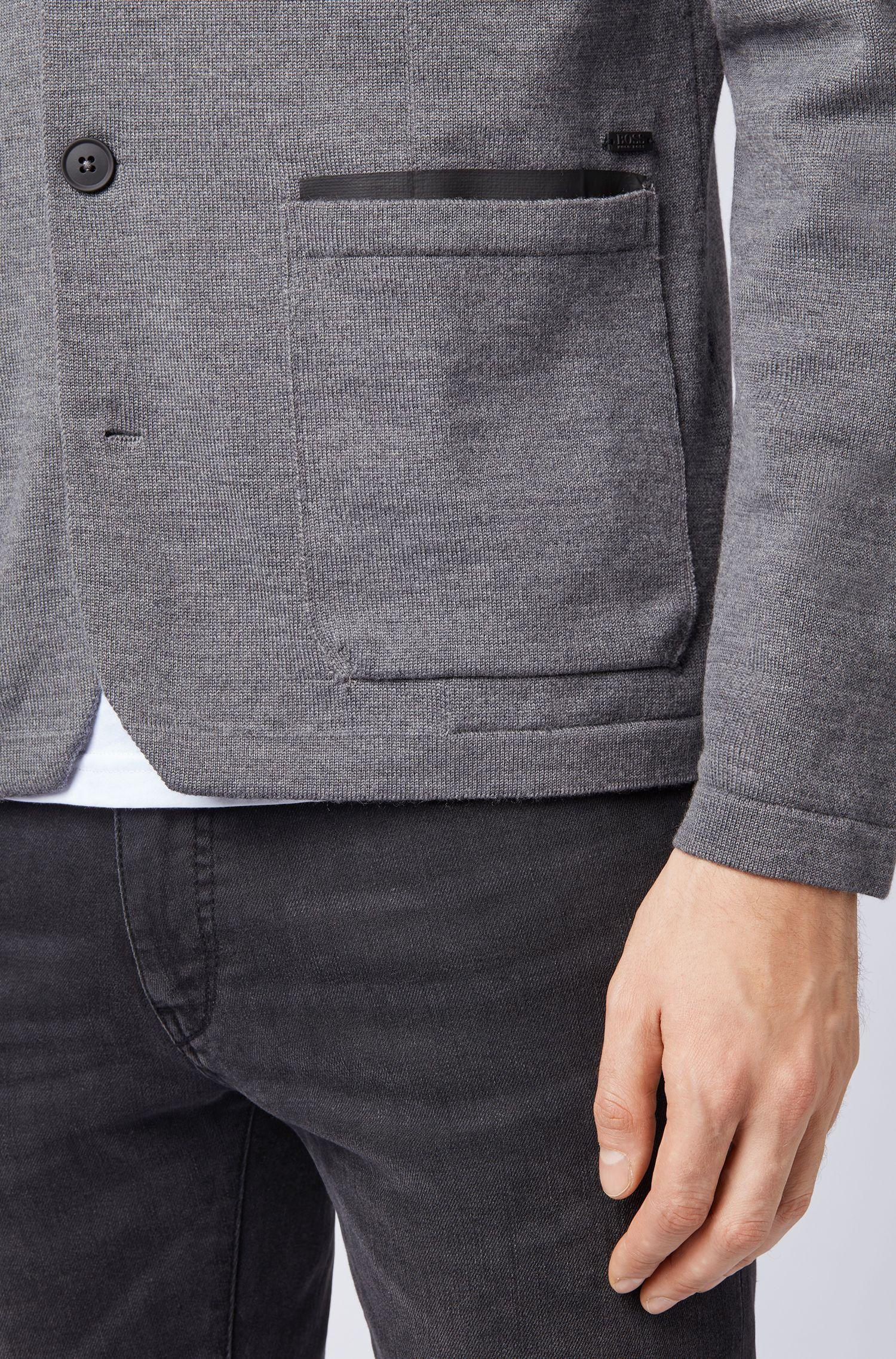 Regular-fit gebreid colbert van een merinowolmix, Grijs