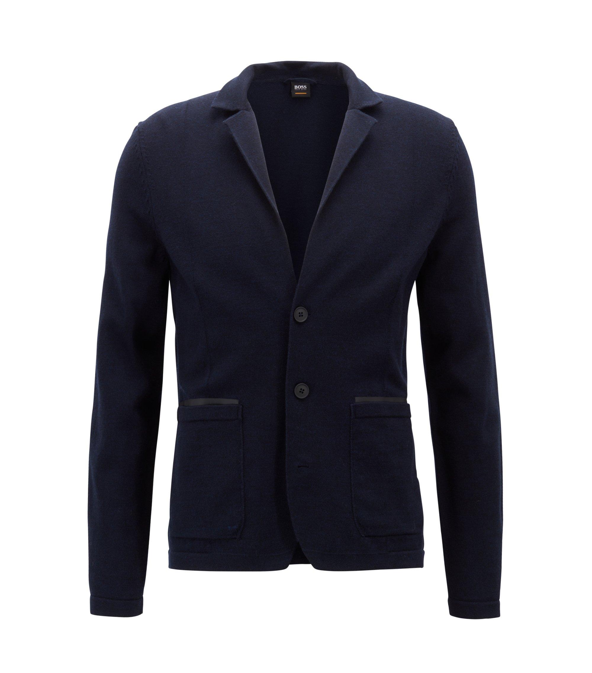 Regular-fit knitted jacket in a merino-wool blend, Dark Blue