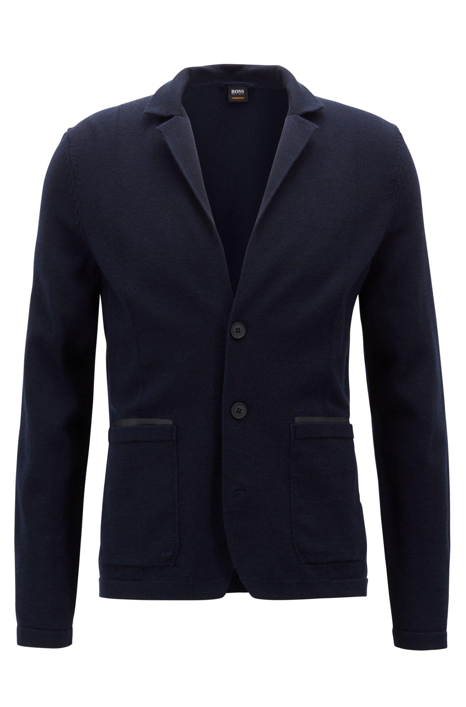 Cazadora de punto regular fit en mezcla de lana merina, Azul oscuro