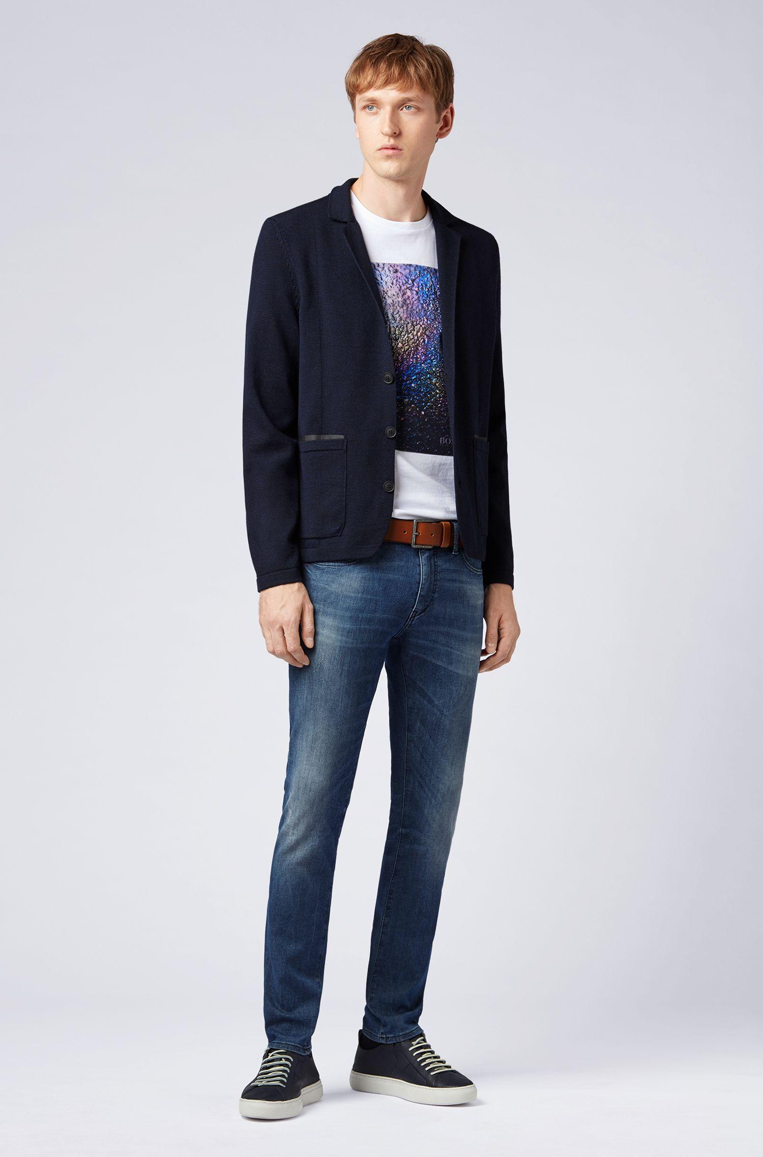 Giacca regular fit lavorata a maglia in misto lana merino, Blu scuro