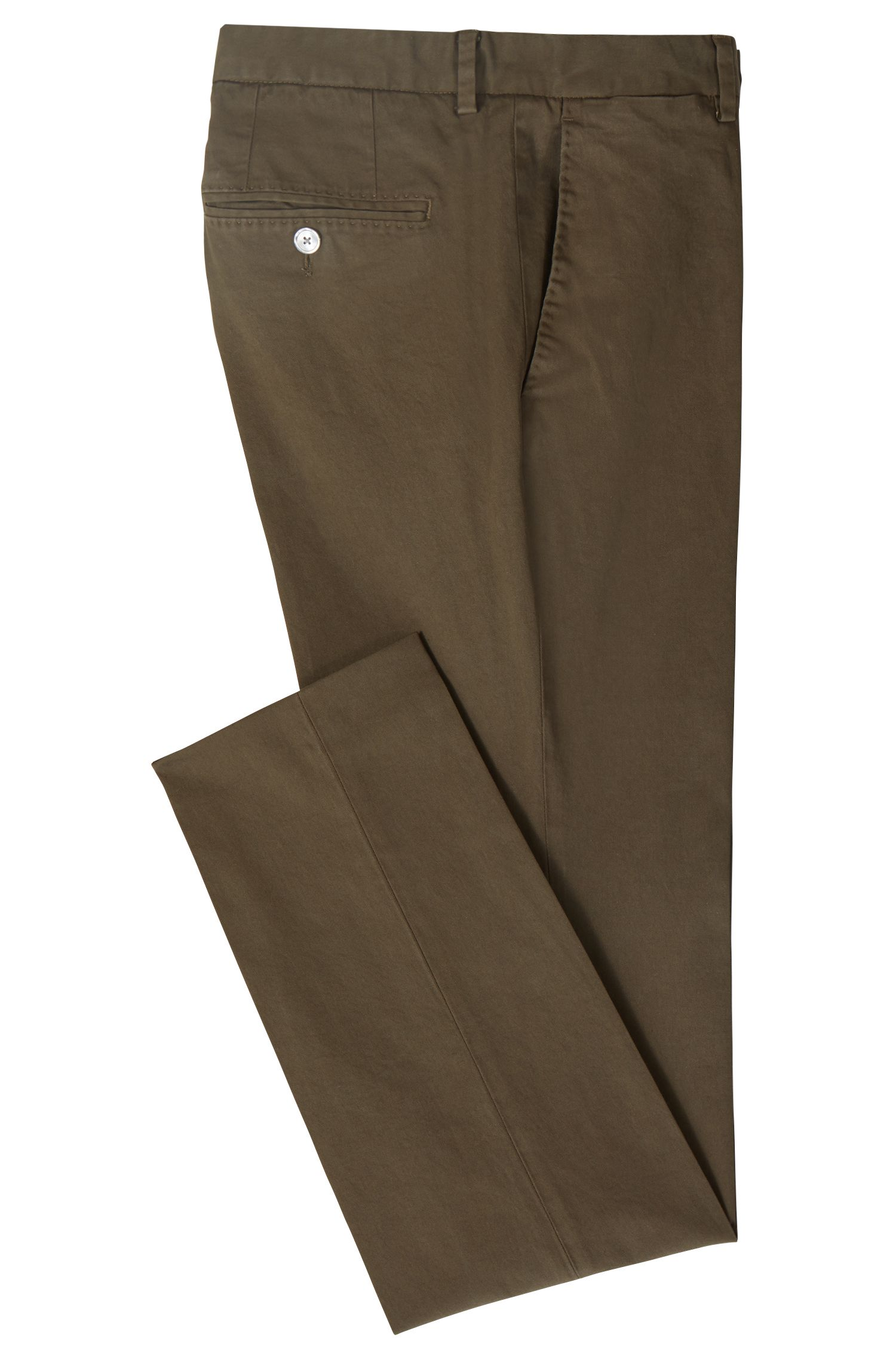 Slim-fit trousers in overdyed stretch cotton, Open Green