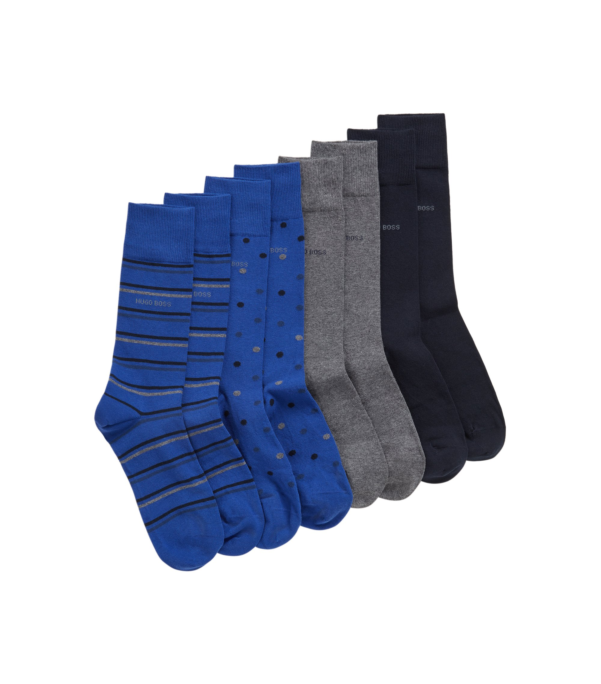 Four-pack of socks in metal gift box, Dark Blue