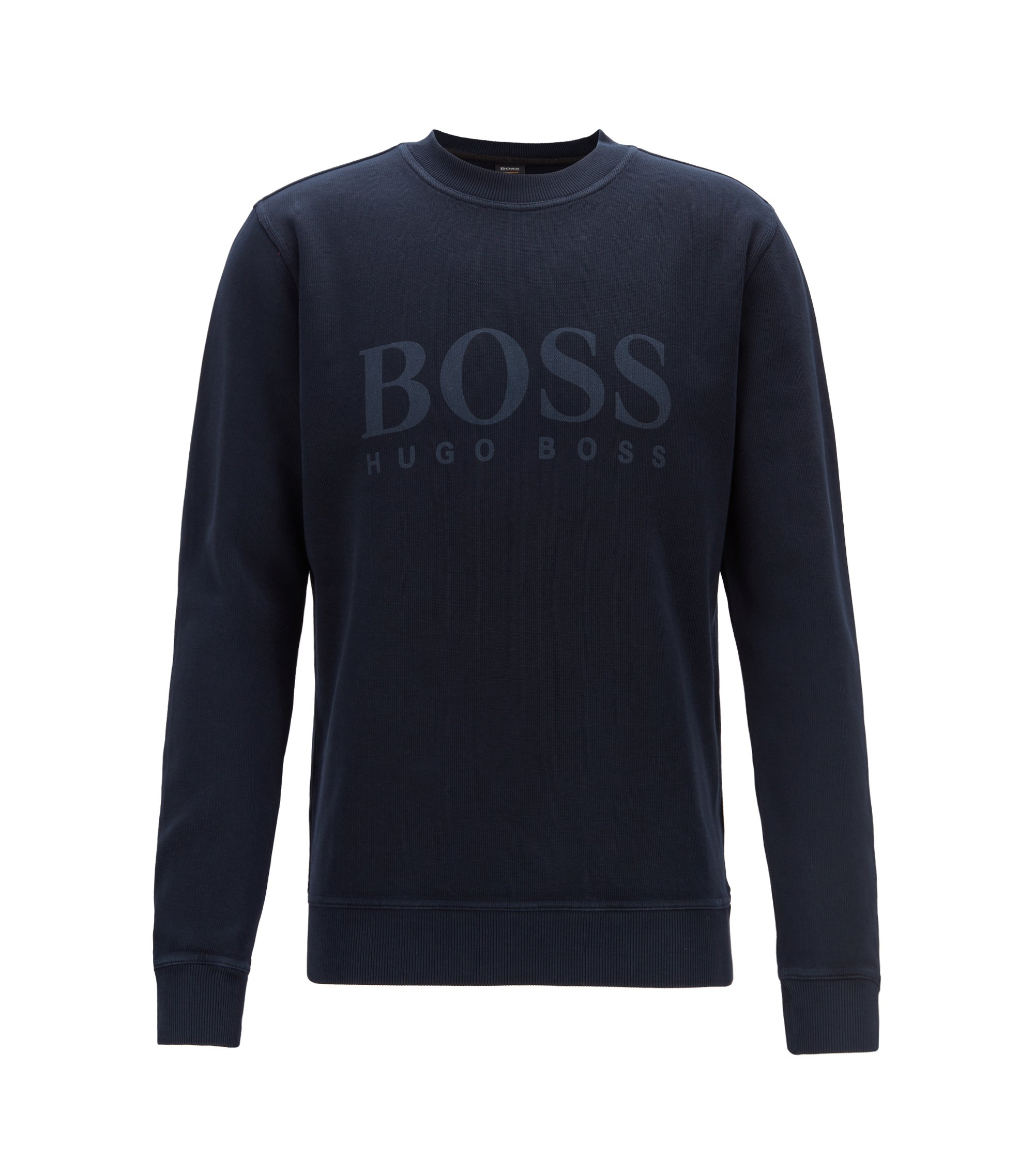 Relaxed-fit sweater van Frans ribmateriaal met een transparant logo, Donkerblauw