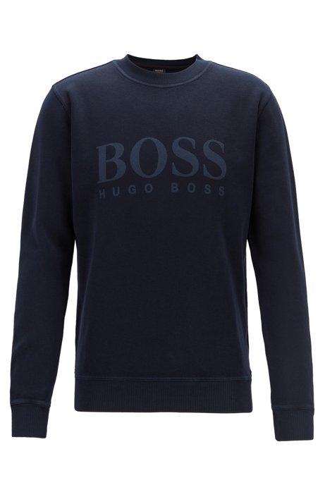 Sweatshirt aus gerippter Baumwolle mit transparentem Logo, Dunkelblau