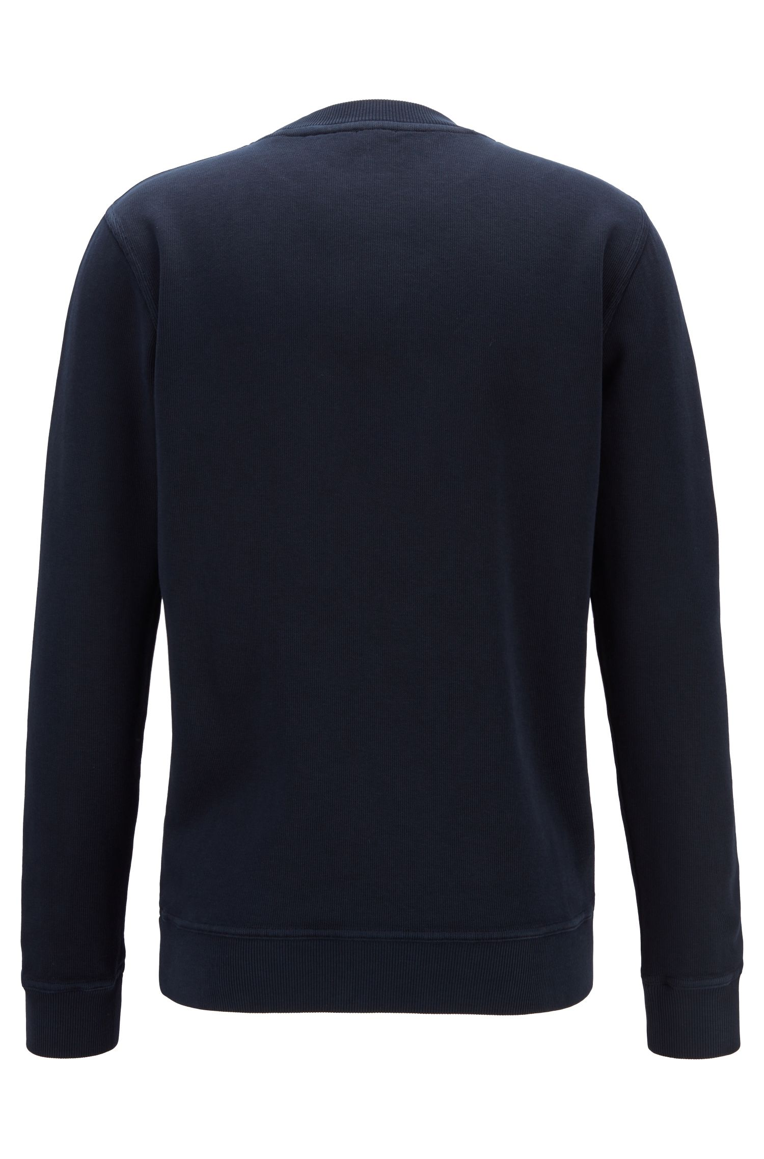 Relaxed-fit French-rib sweatshirt with transparent logo, Azul oscuro