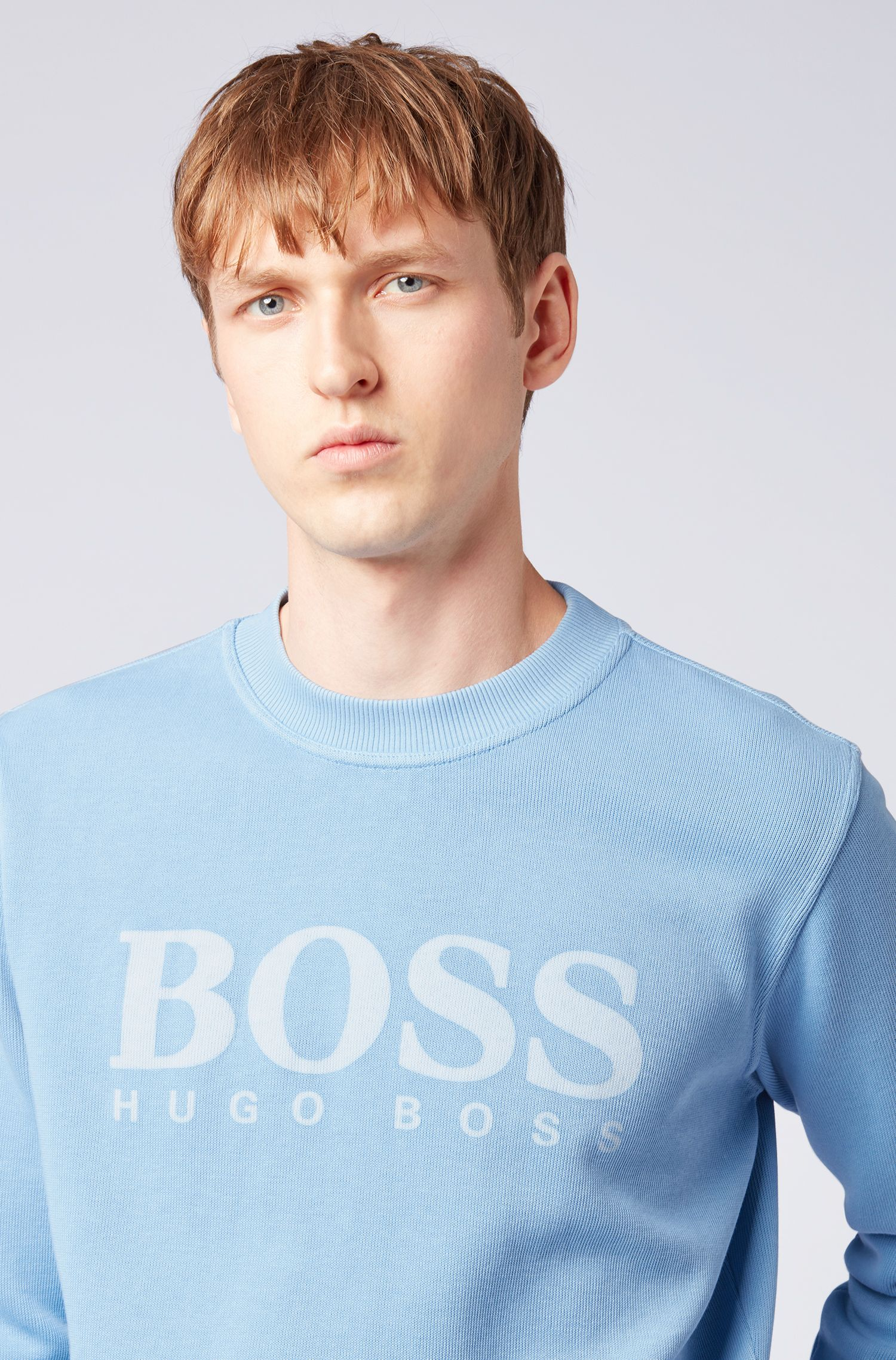 Relaxed-fit French-rib sweatshirt with transparent logo, Light Blue