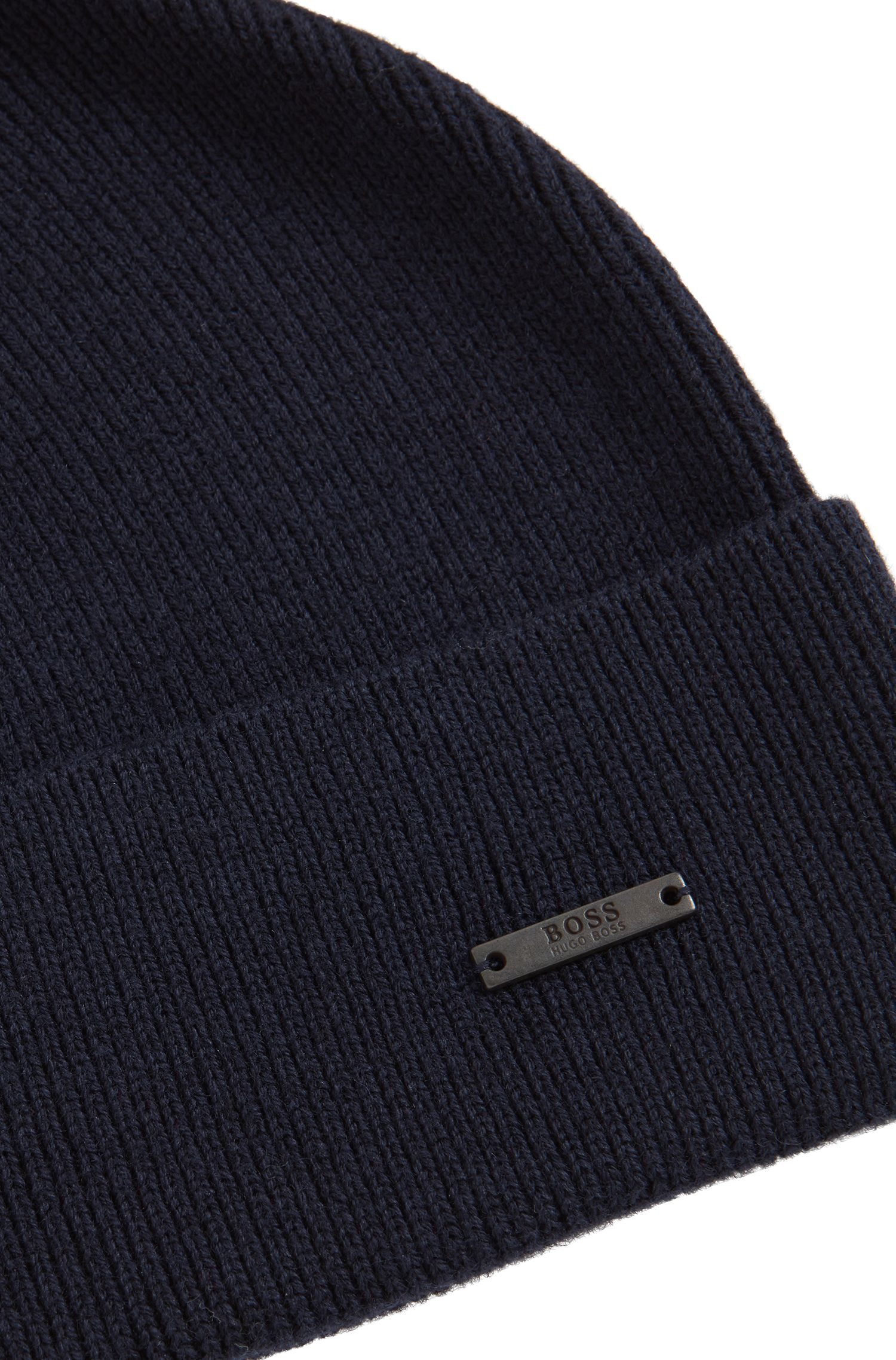 Knitted beanie hat with metal logo badge, Blue
