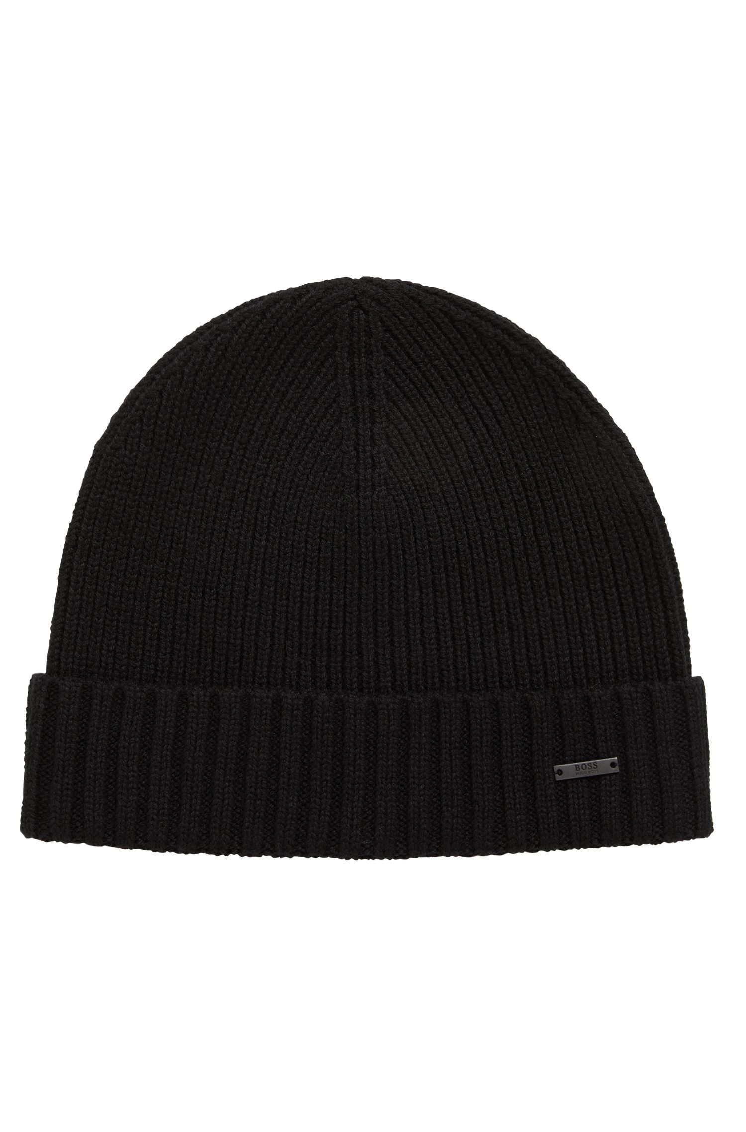 Gorro de punto en lana virgen con insignia metálica, Negro
