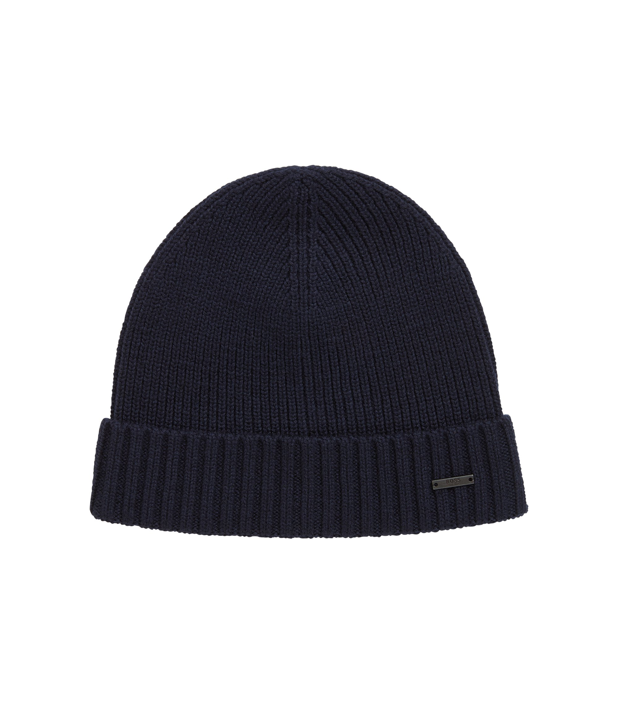 Knitted beanie hat in virgin wool with metal badge, Dark Blue