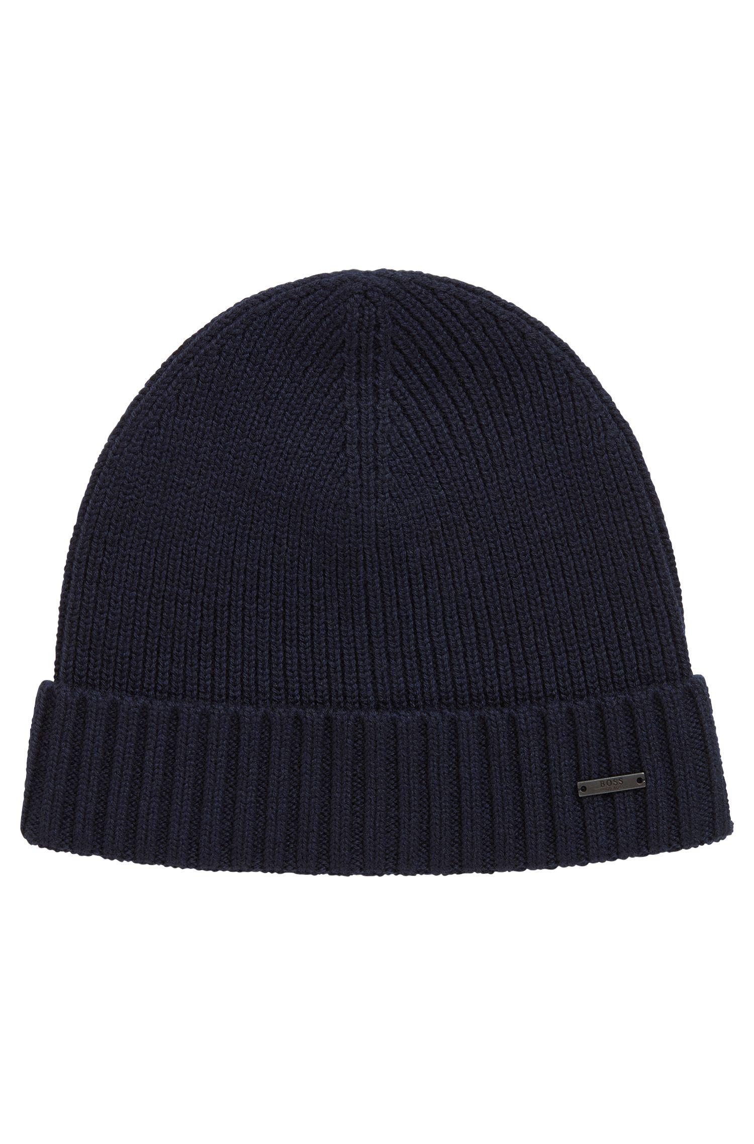 Gorro de punto en lana virgen con insignia metálica, Azul oscuro