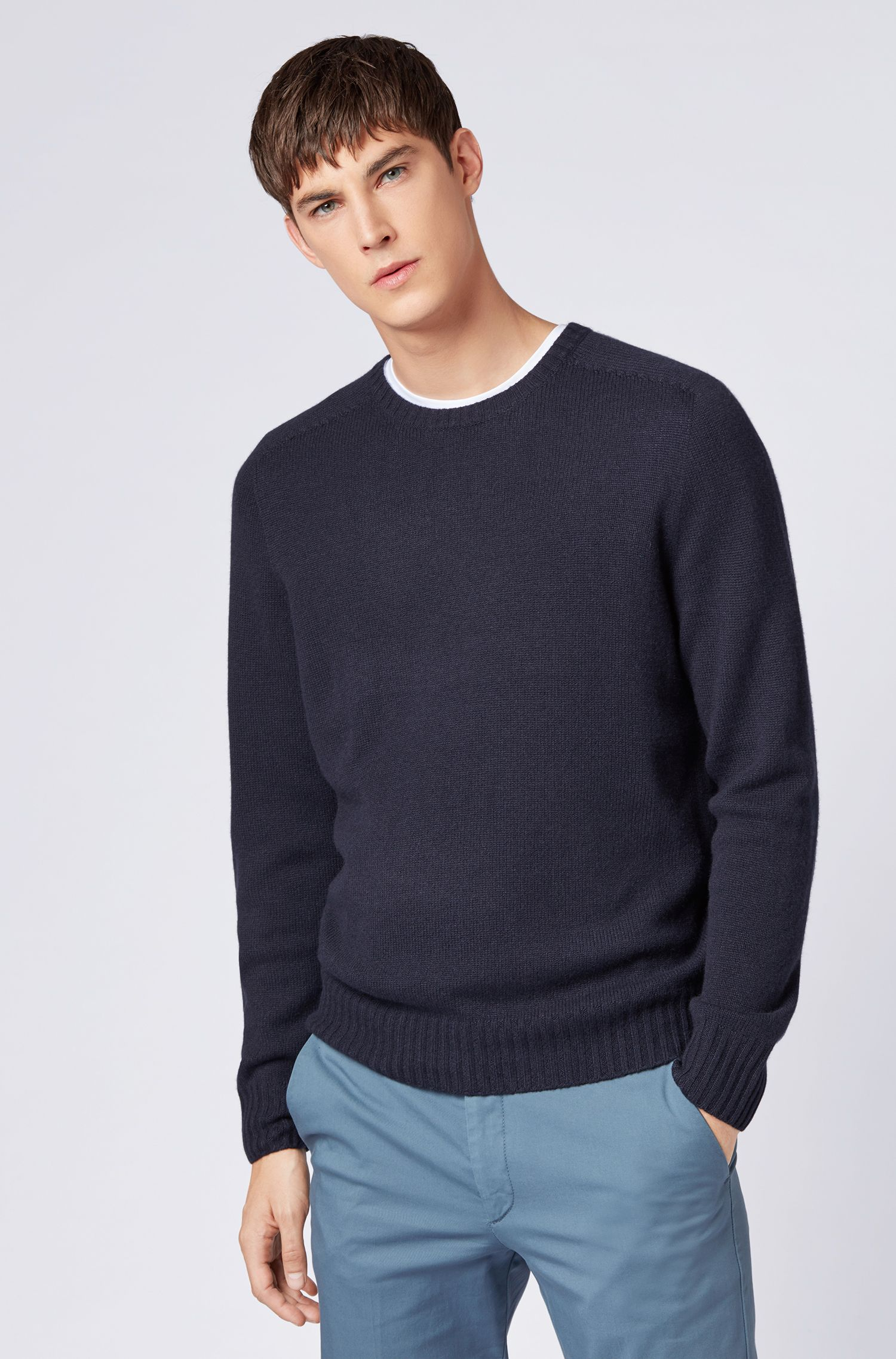 Cashmere sweater with seam-free design, Blue