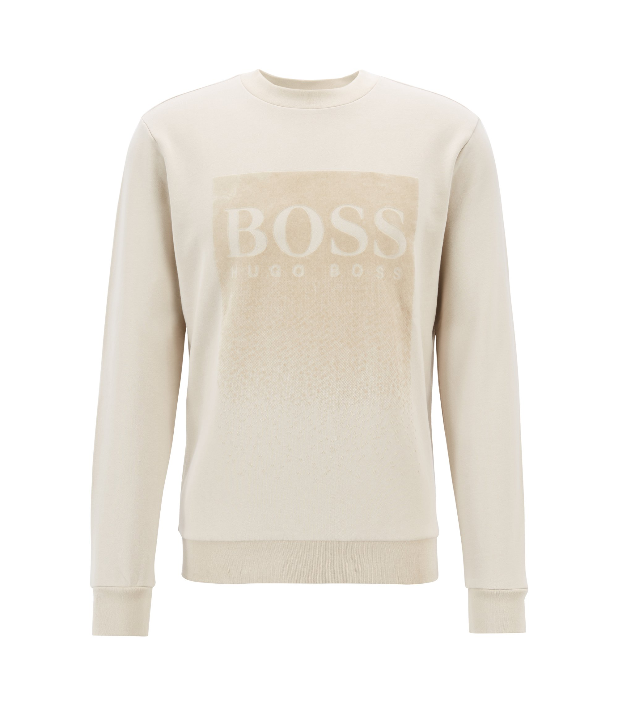 French-terry sweatshirt with flocked logo print, Light Beige